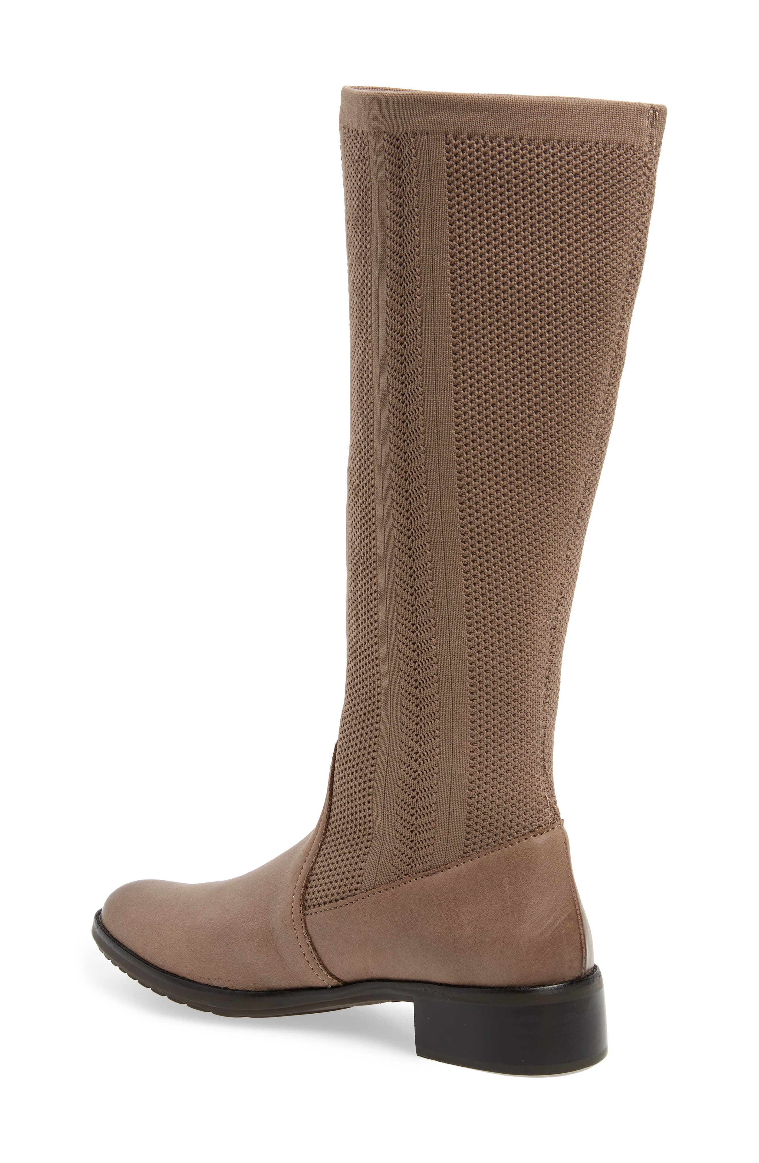 AETREX, Belle Sock Knit Shaft Boot, Alternate thumbnail 2, color, TAN LEATHER