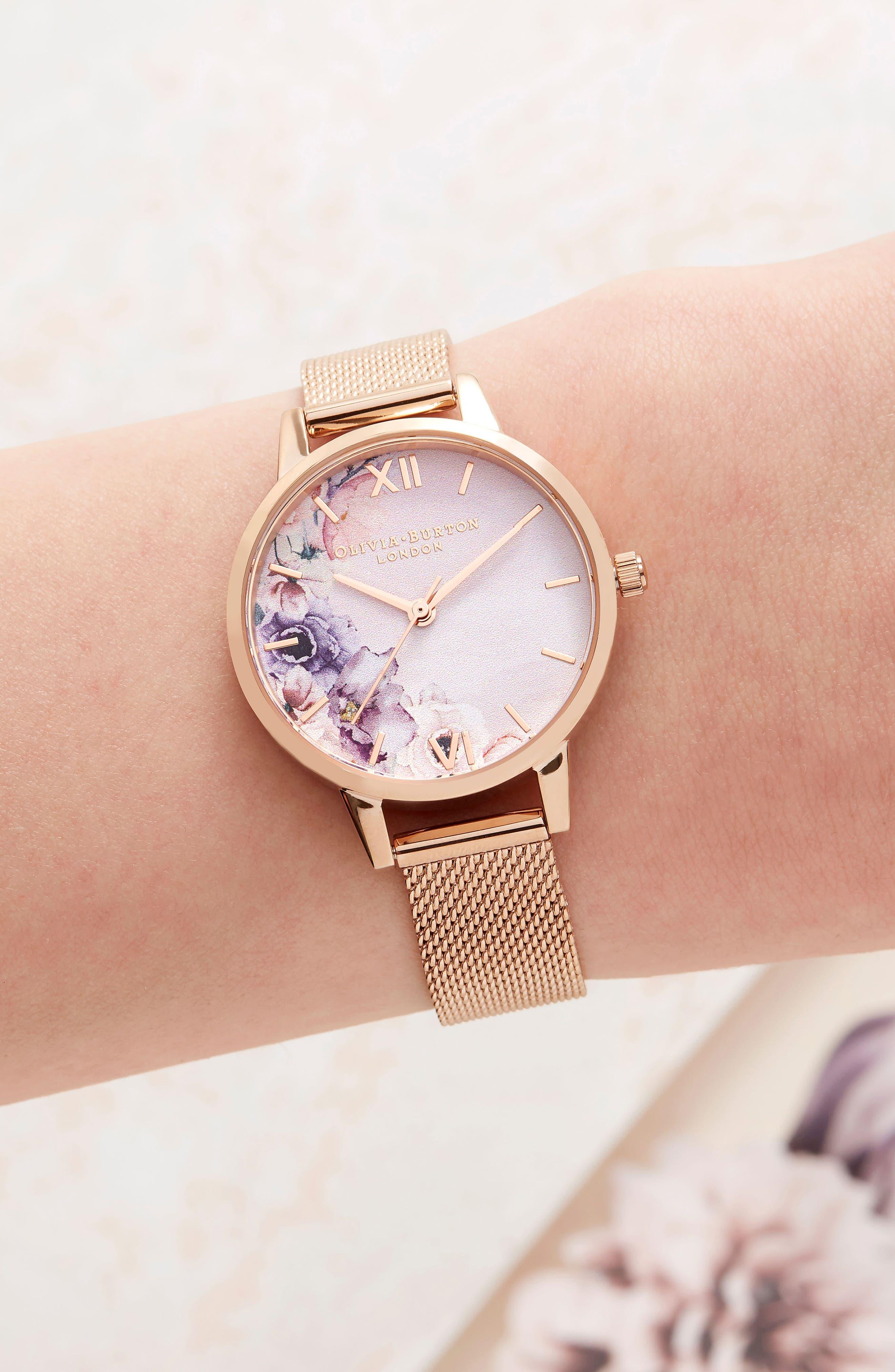 OLIVIA BURTON, Watercolour Florals Mesh Strap Watch, 30mm, Alternate thumbnail 2, color, ROSE GOLD/ WHITE / ROSE GOLD