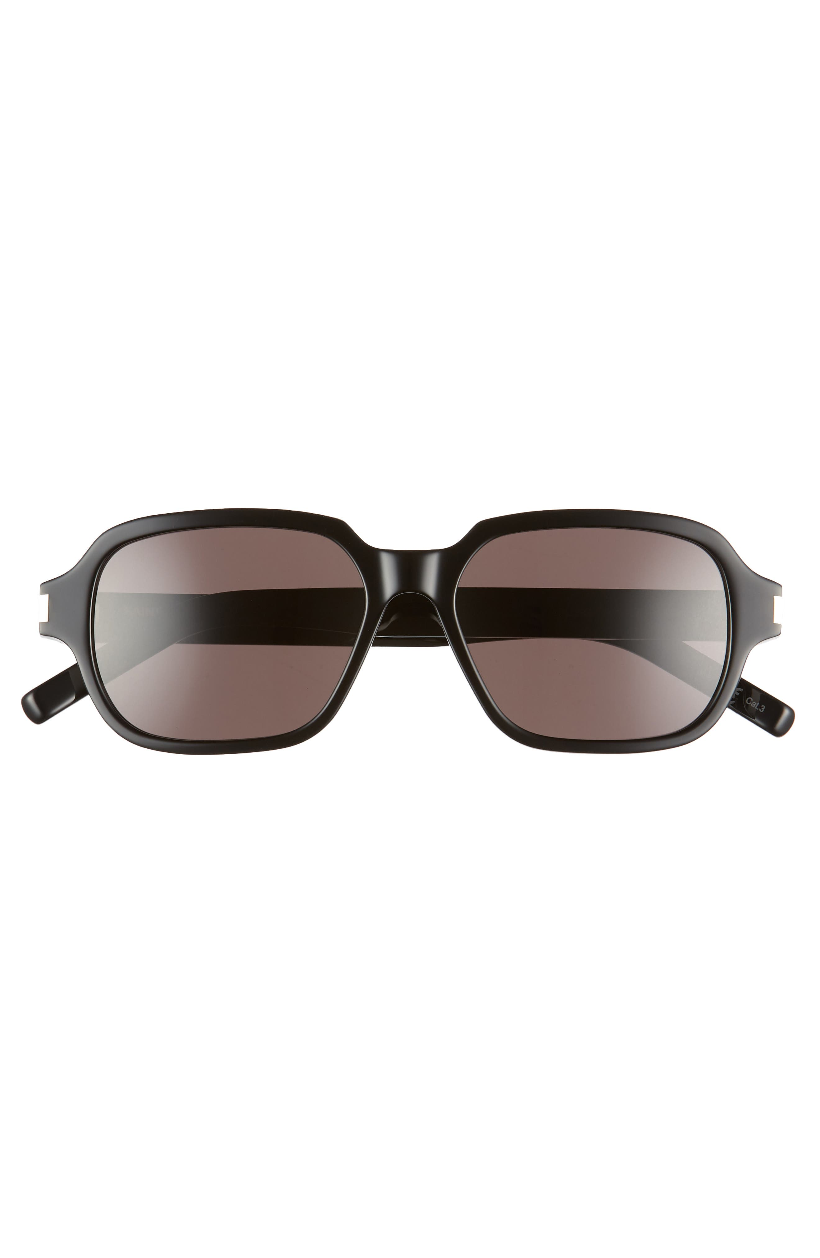 SAINT LAURENT, 53mm Rectangle Sunglasses, Alternate thumbnail 3, color, SHINY BLACK/ GREY SOLID