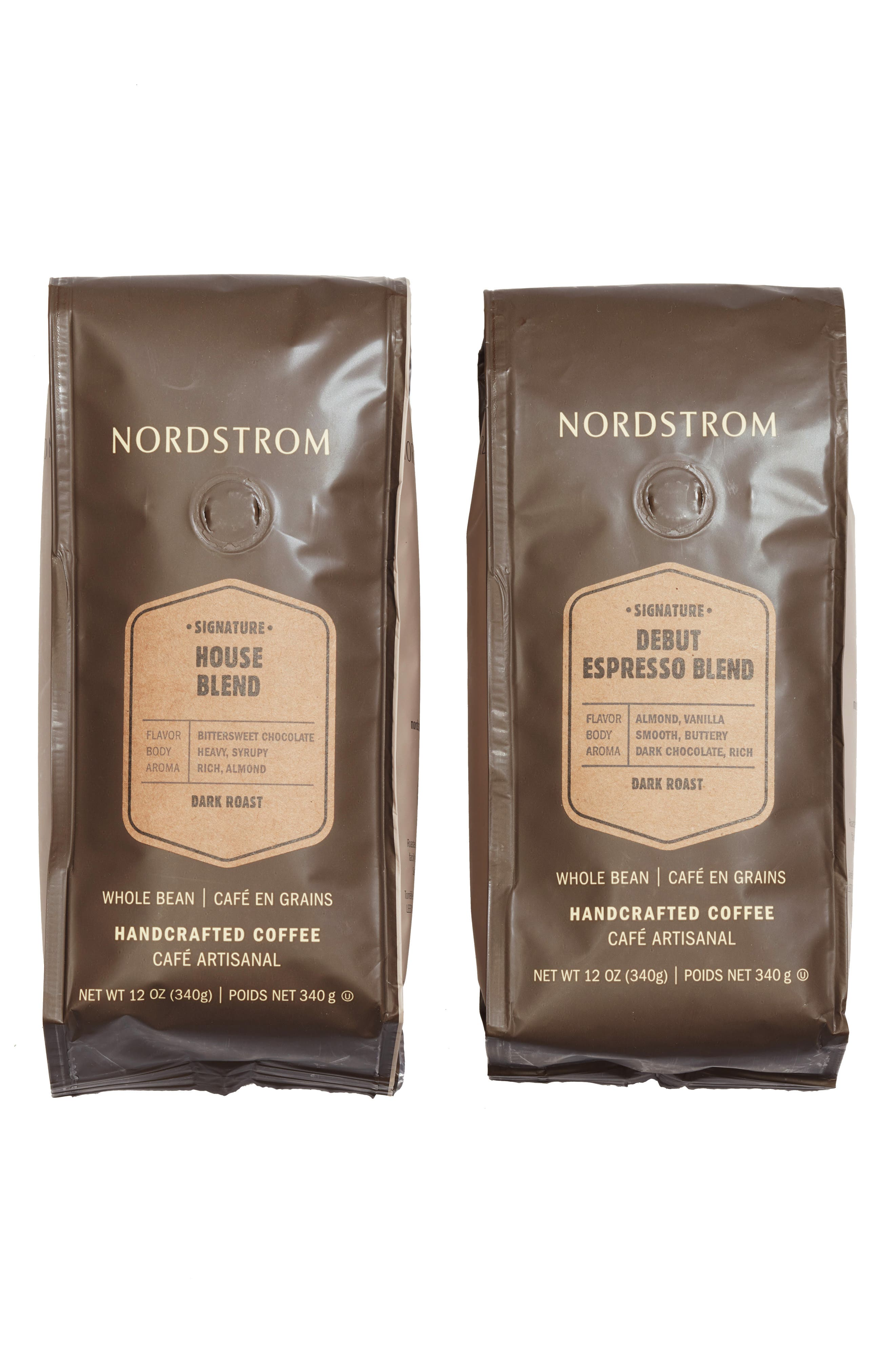 NORDSTROM, 2-Pack Coffee Debut Espresso Blend Whole Bean Coffee, Main thumbnail 1, color, BEIGE/ KHAKI
