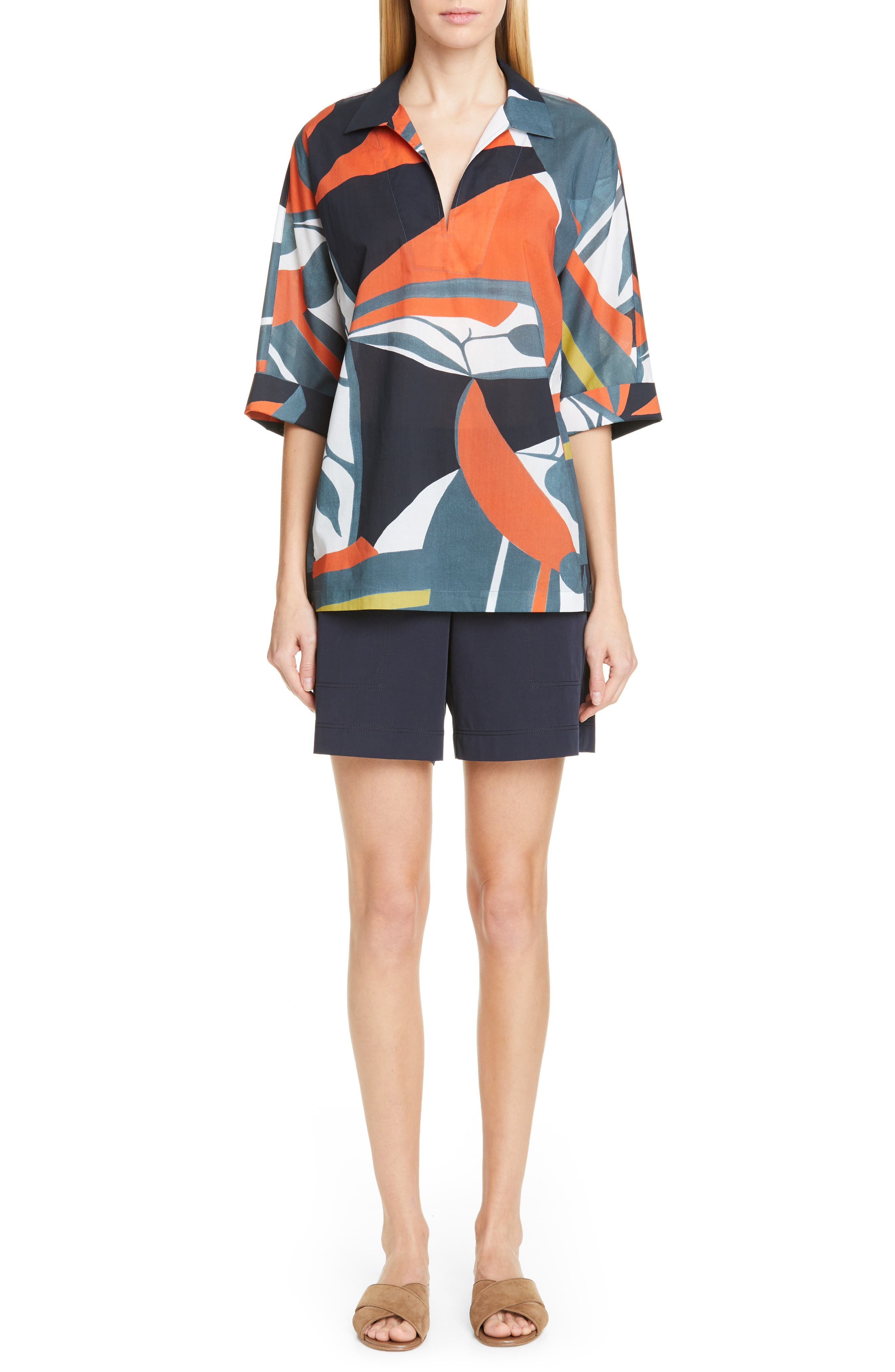 LAFAYETTE 148 NEW YORK, Nicole Artisan Abstract Print Top, Alternate thumbnail 8, color, ATLANTIS TEAL MULTI