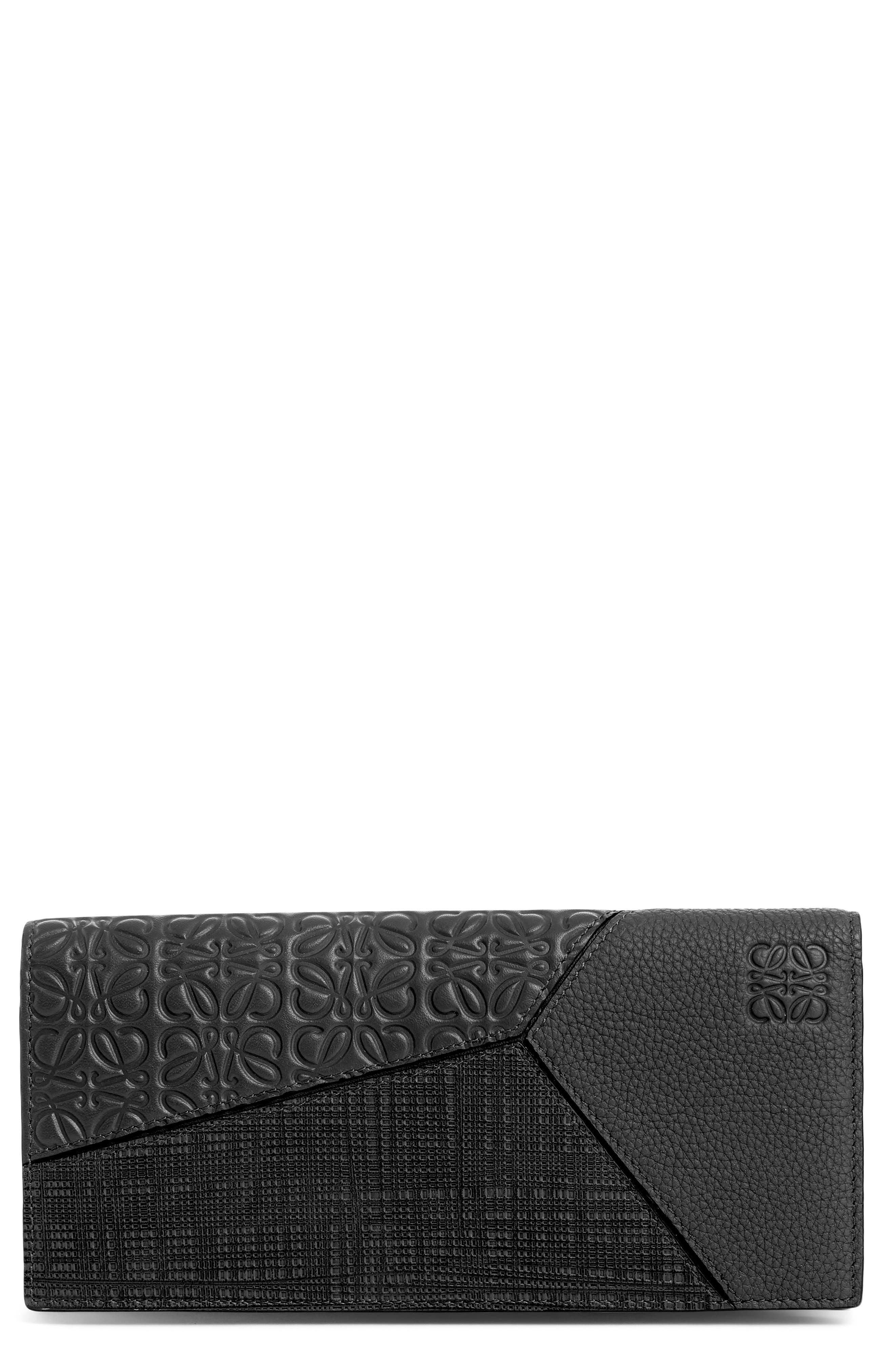 LOEWE, Long Puzzle Bifold Leather Wallet, Main thumbnail 1, color, BLACK