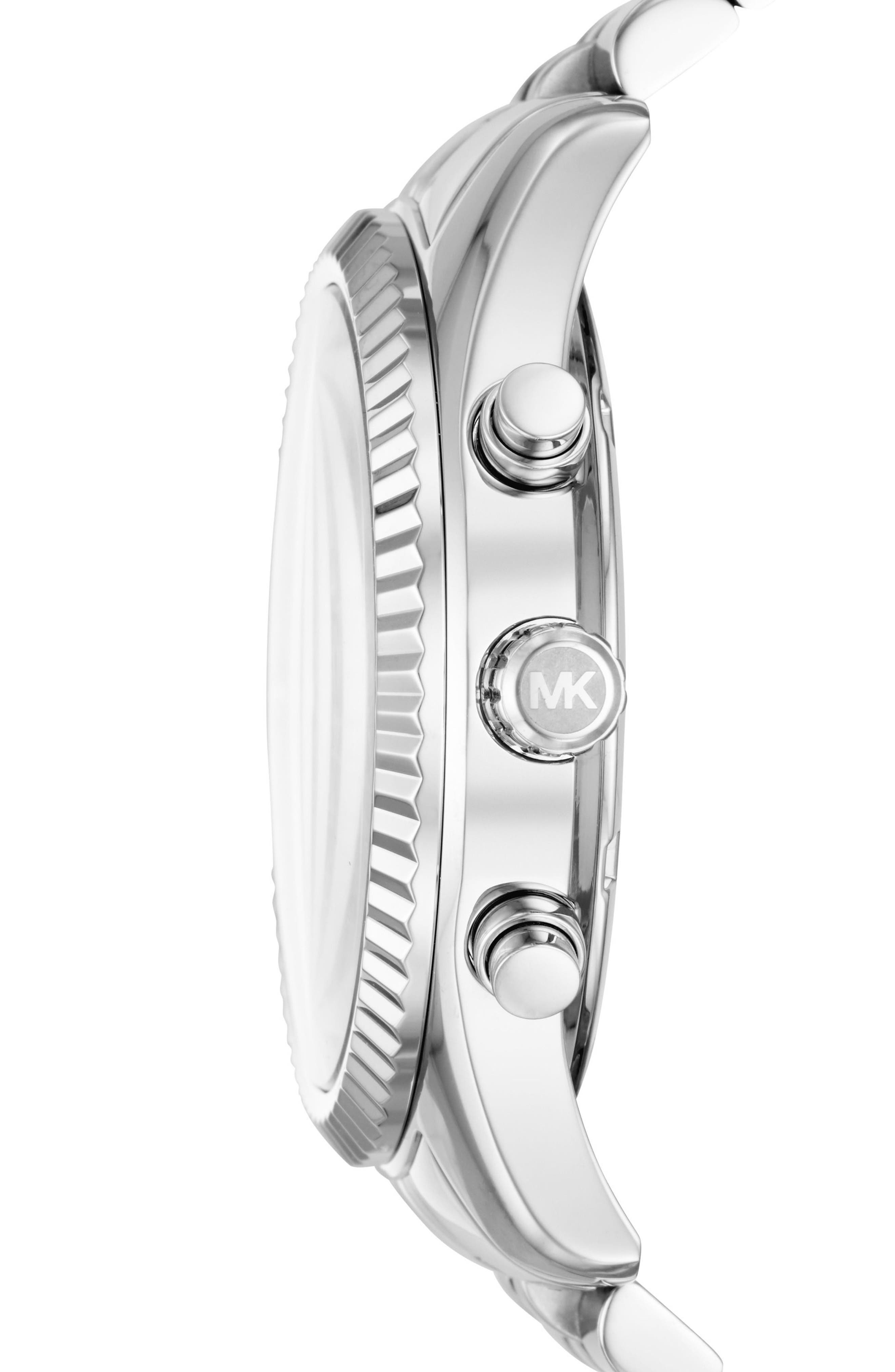MICHAEL KORS, Lexington Bracelet Chronograph Watch, 44mm x 54mm, Alternate thumbnail 2, color, SILVER/ BLACK/ SILVER