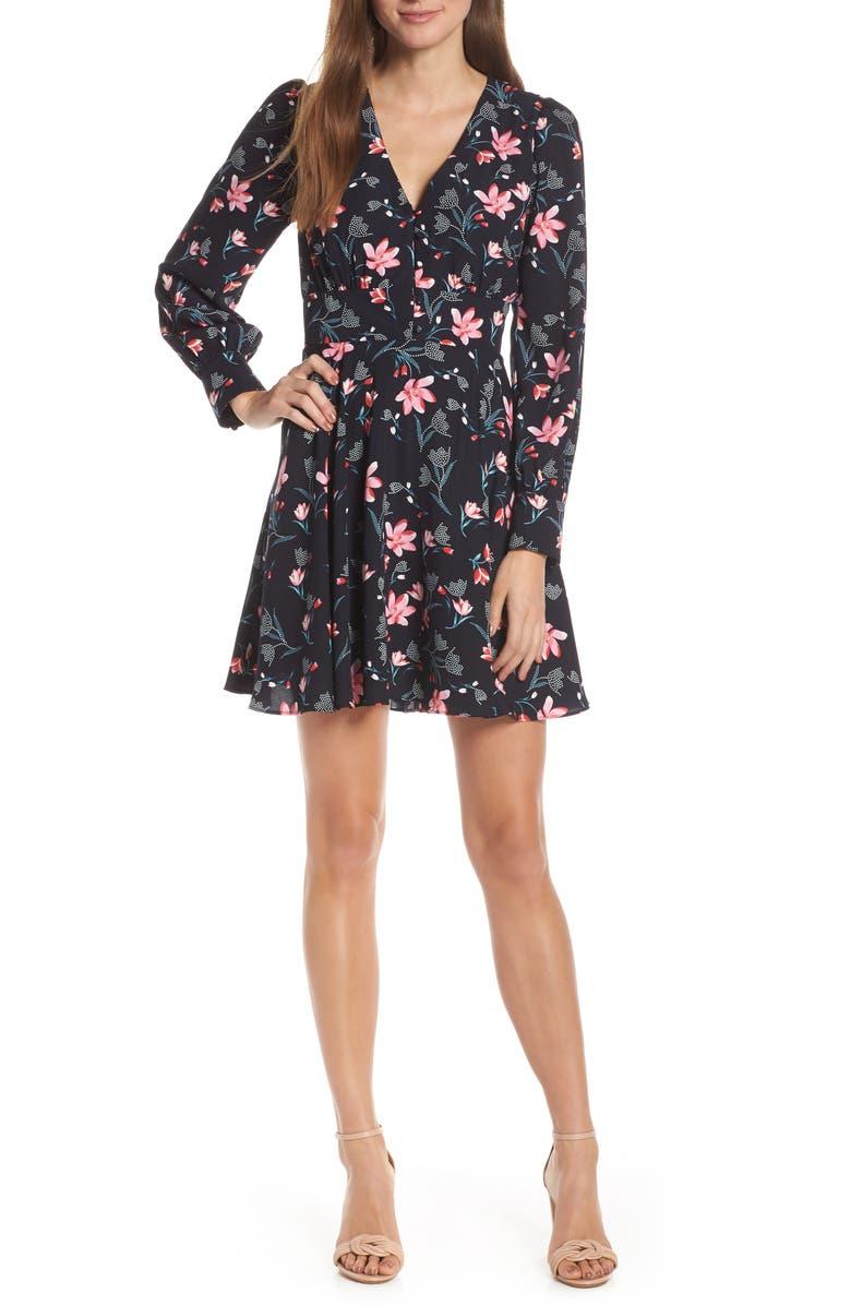 Adelyn Rae Dresses JULIE BUTTON DETAIL FIT & FLARE DRESS