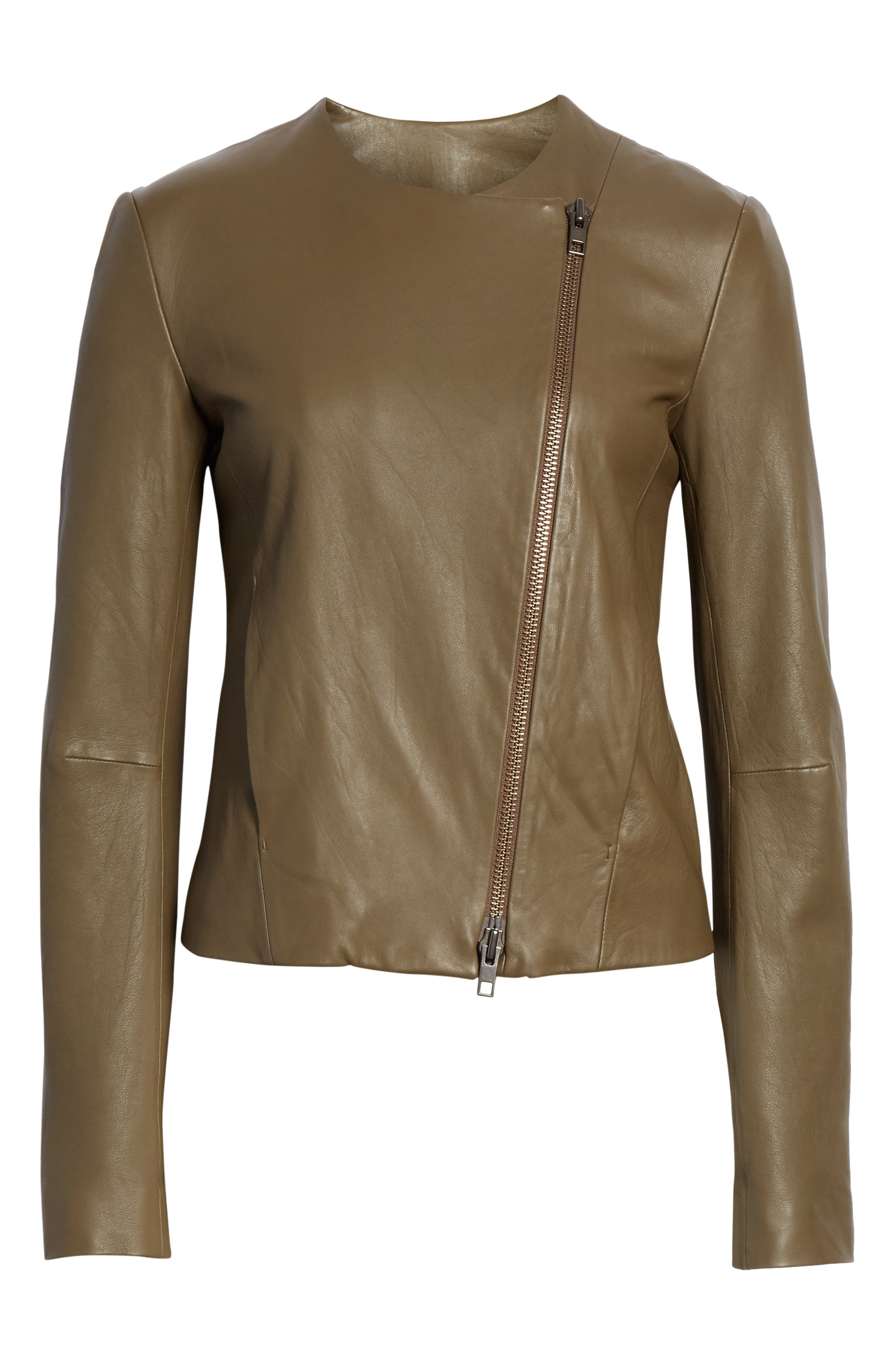 VINCE, Cross Front Leather Jacket, Alternate thumbnail 6, color, OLIVE WOOD