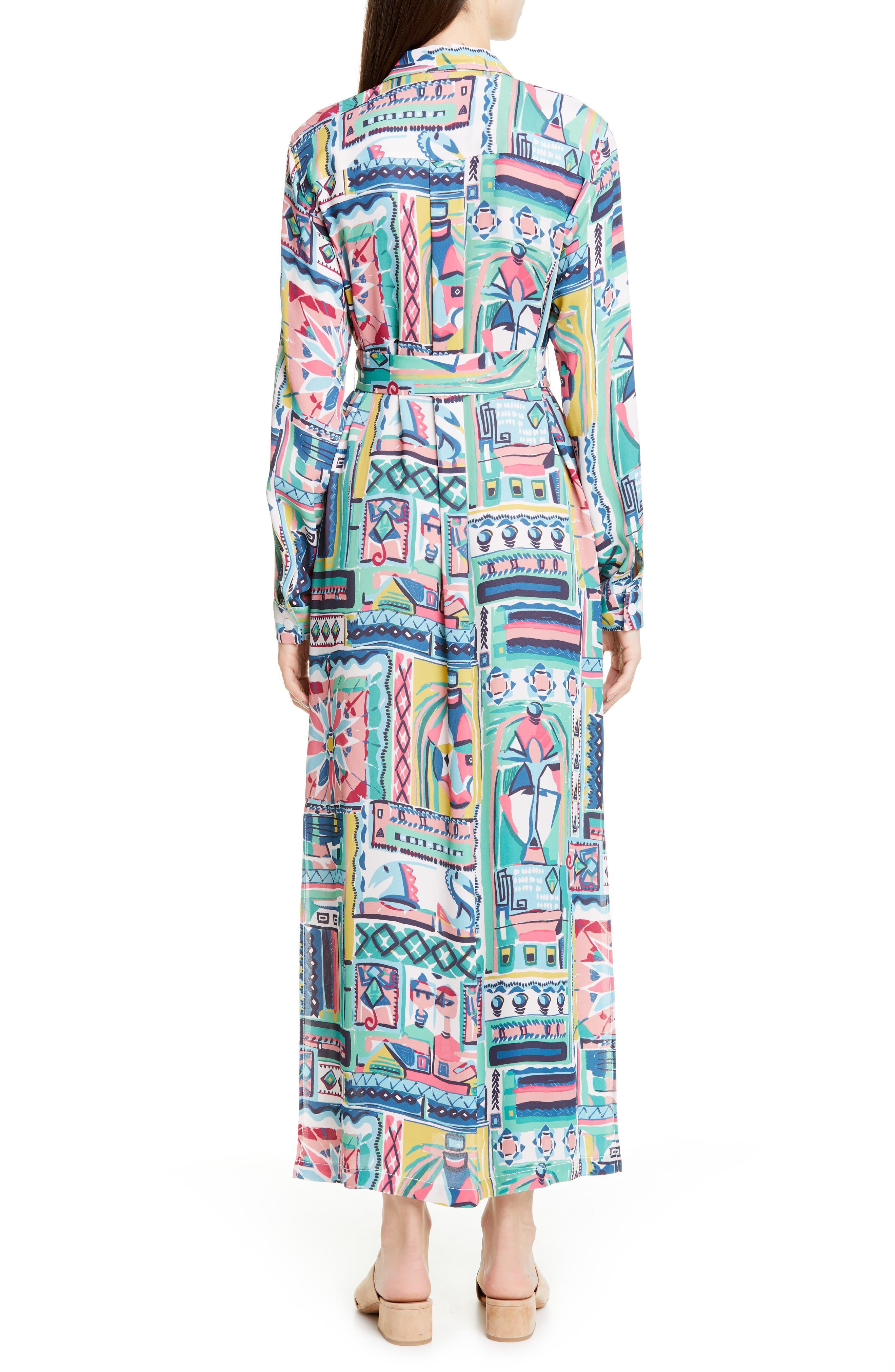 LAFAYETTE 148 NEW YORK, Doha Palazzo Patchwork Print Maxi Shirtdress, Alternate thumbnail 2, color, 400