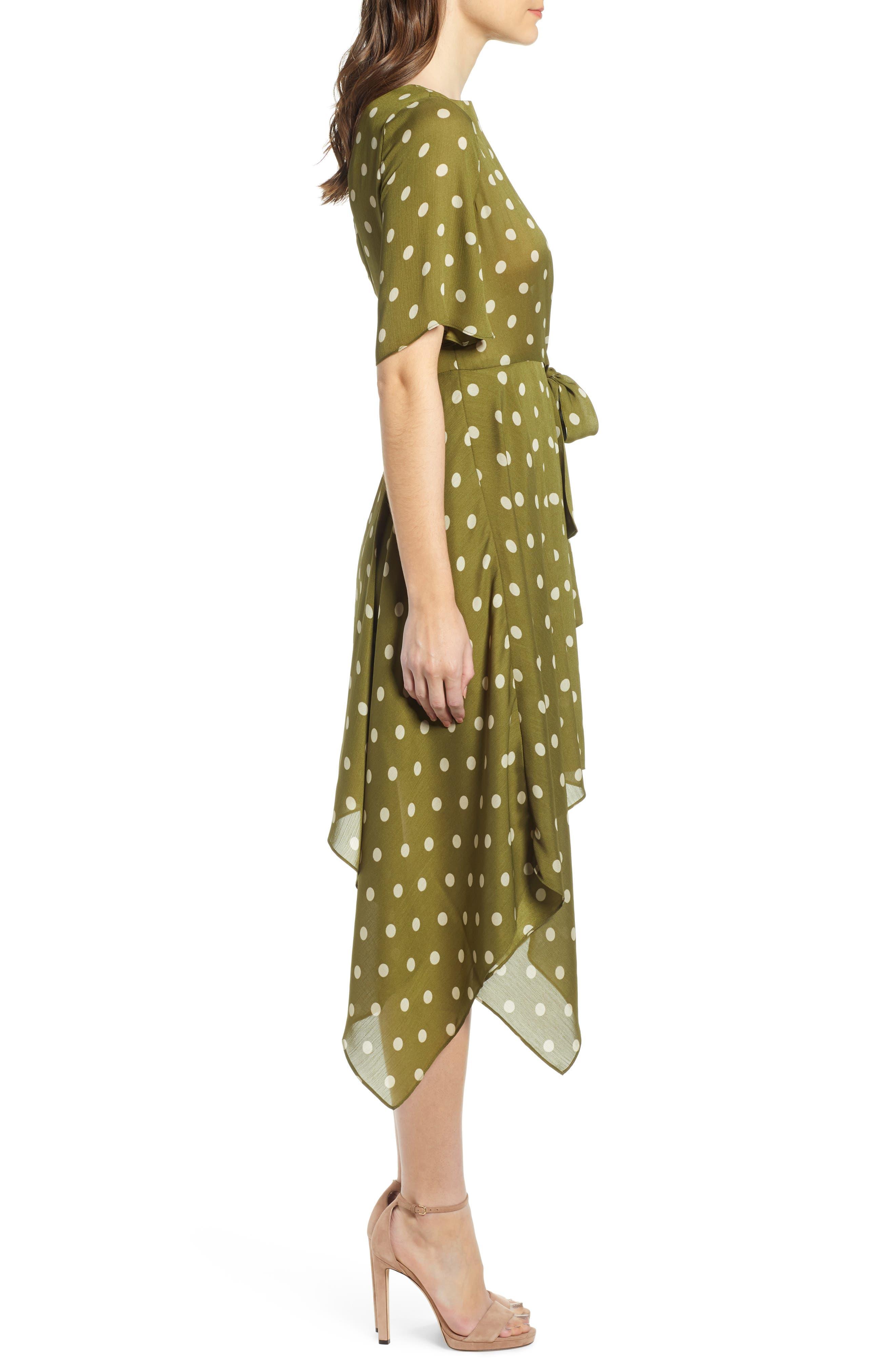 CHRISELLE LIM COLLECTION, Chriselle Lim Marie Handkerchief Hem Midi Dress, Alternate thumbnail 4, color, CREAM/ OLIVE