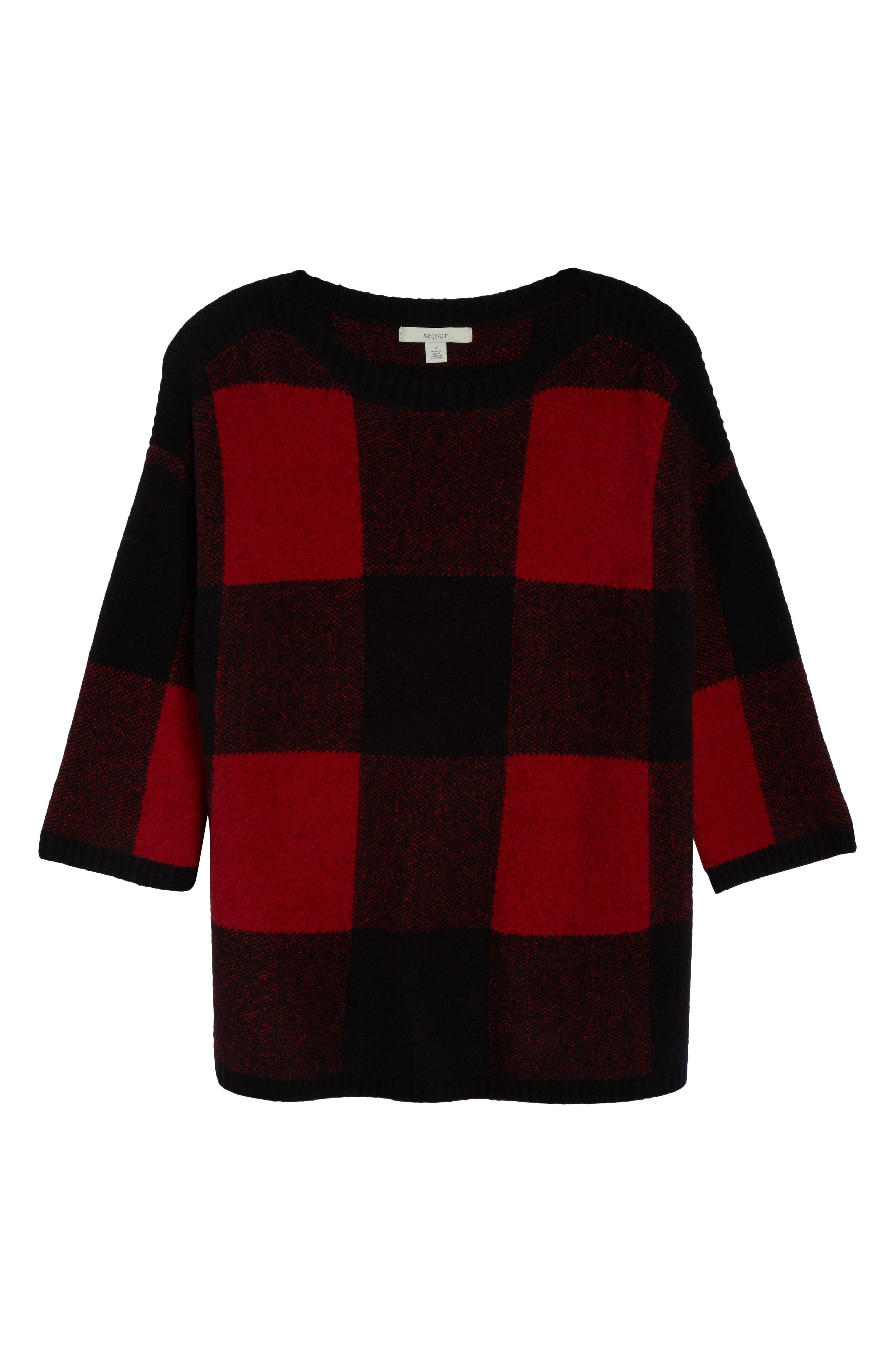 SEJOUR, Buffalo Plaid Sweater, Alternate thumbnail 6, color, BLACK-RED BUFFALO CHECK