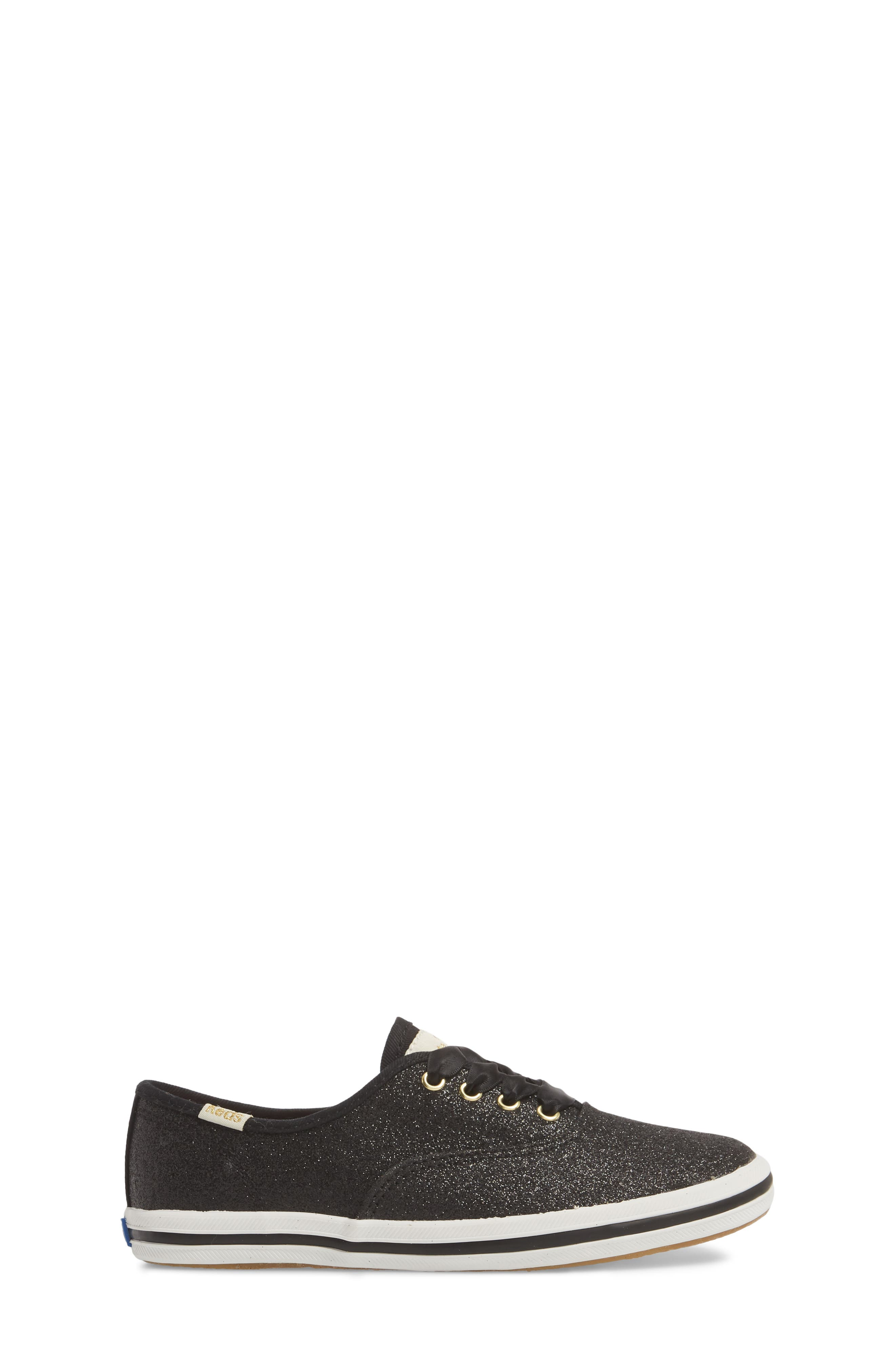 KEDS<SUP>®</SUP>, x kate spade new york Champion Glitter Sneaker, Alternate thumbnail 3, color, BLACK