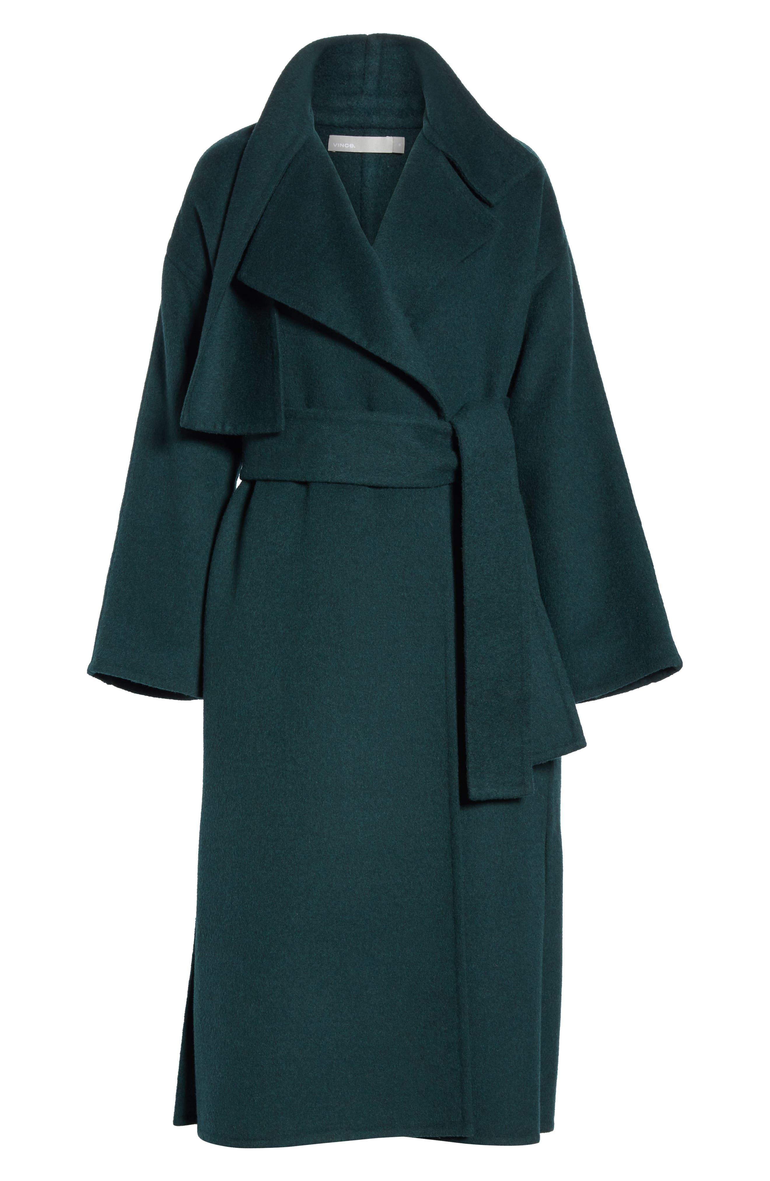 VINCE, Belted Wool Blend Cozy Coat, Alternate thumbnail 6, color, DARK PALM