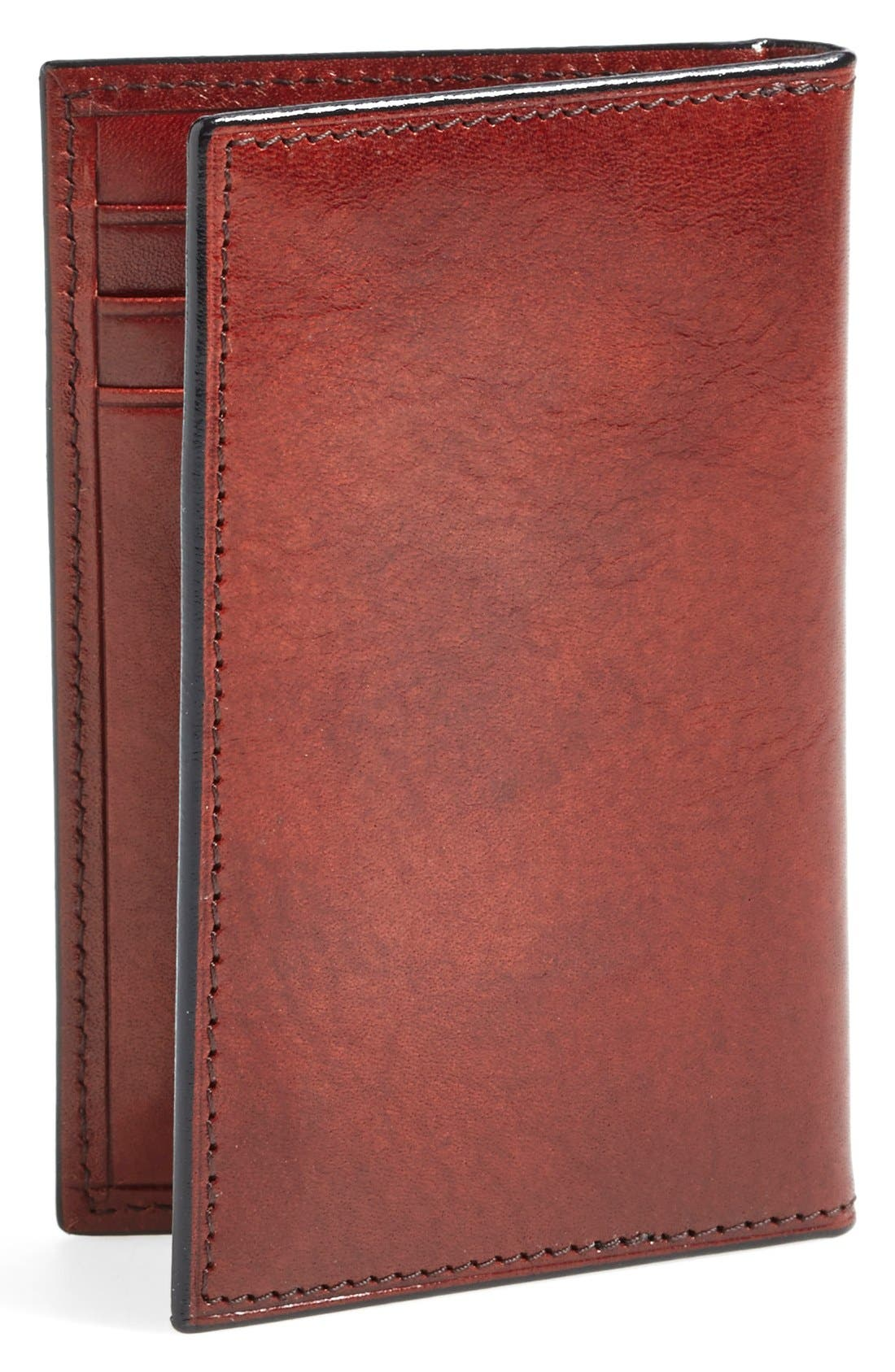 BOSCA, 'Old Leather' Card Case, Alternate thumbnail 3, color, DARK BROWN