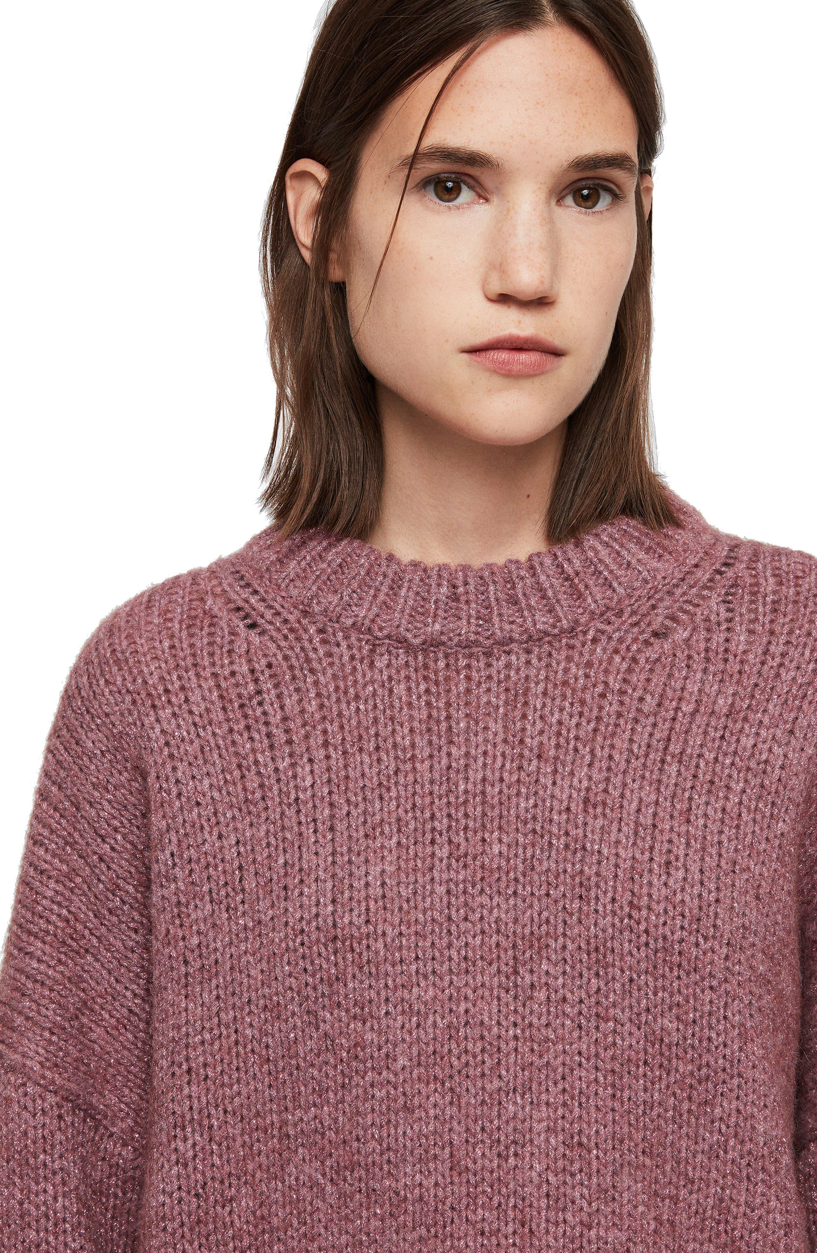 ALLSAINTS, Gemini Metallic Knit Sweater, Alternate thumbnail 5, color, 653