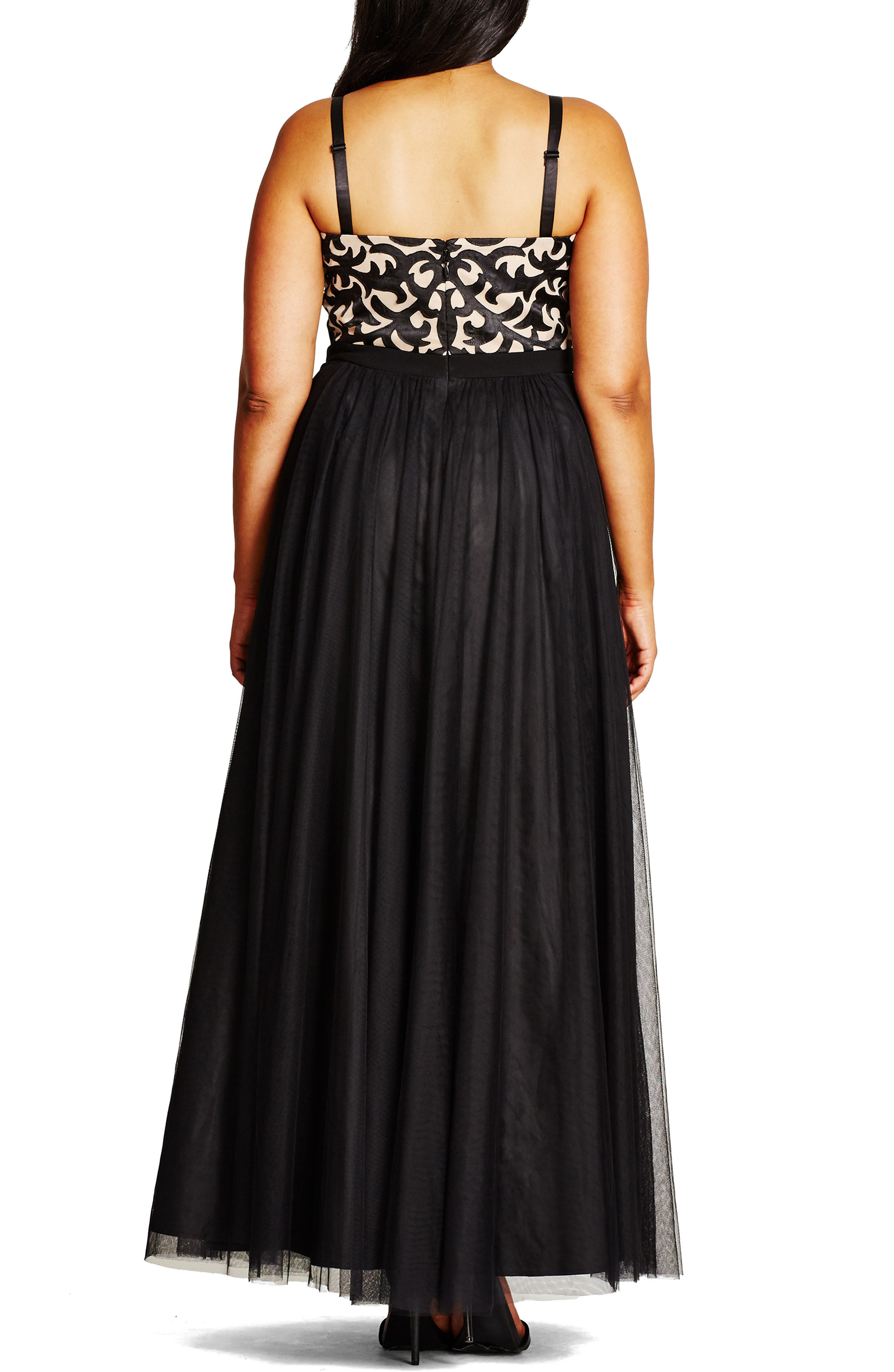 CITY CHIC, 'It Girl' Maxi Dress, Alternate thumbnail 3, color, BLACK