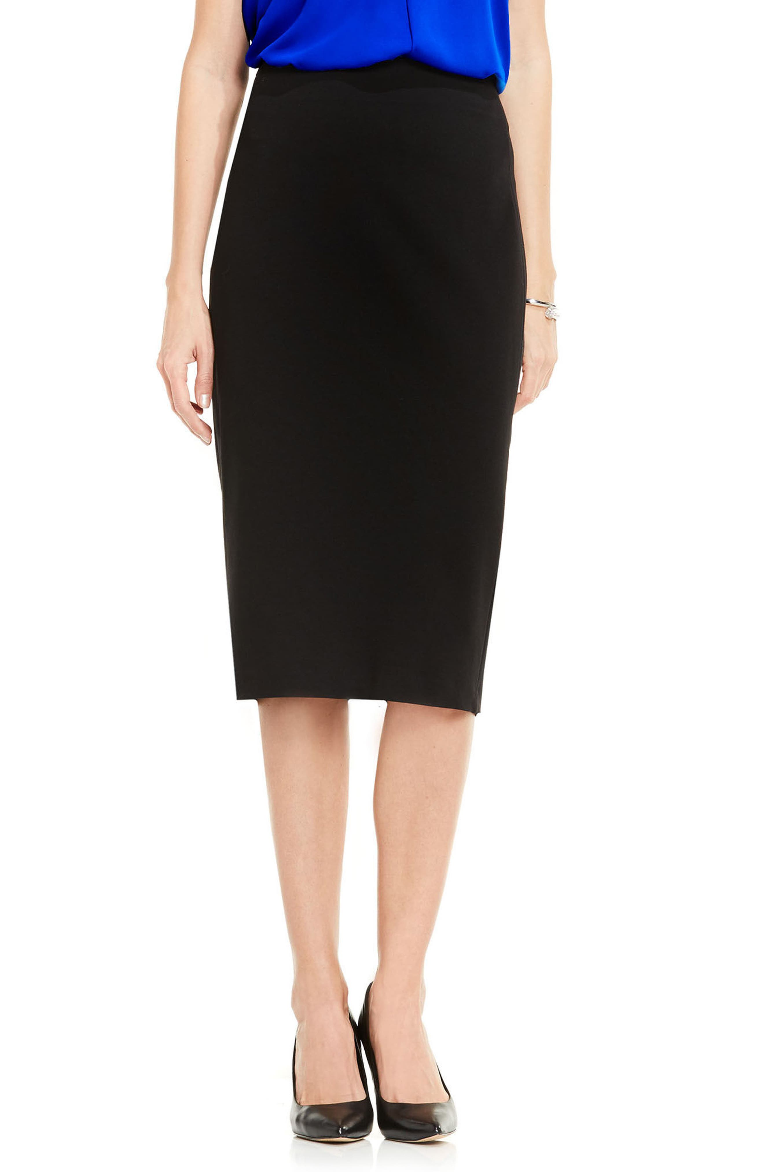 VINCE CAMUTO, Pull-On Pencil Skirt, Main thumbnail 1, color, RICH BLACK
