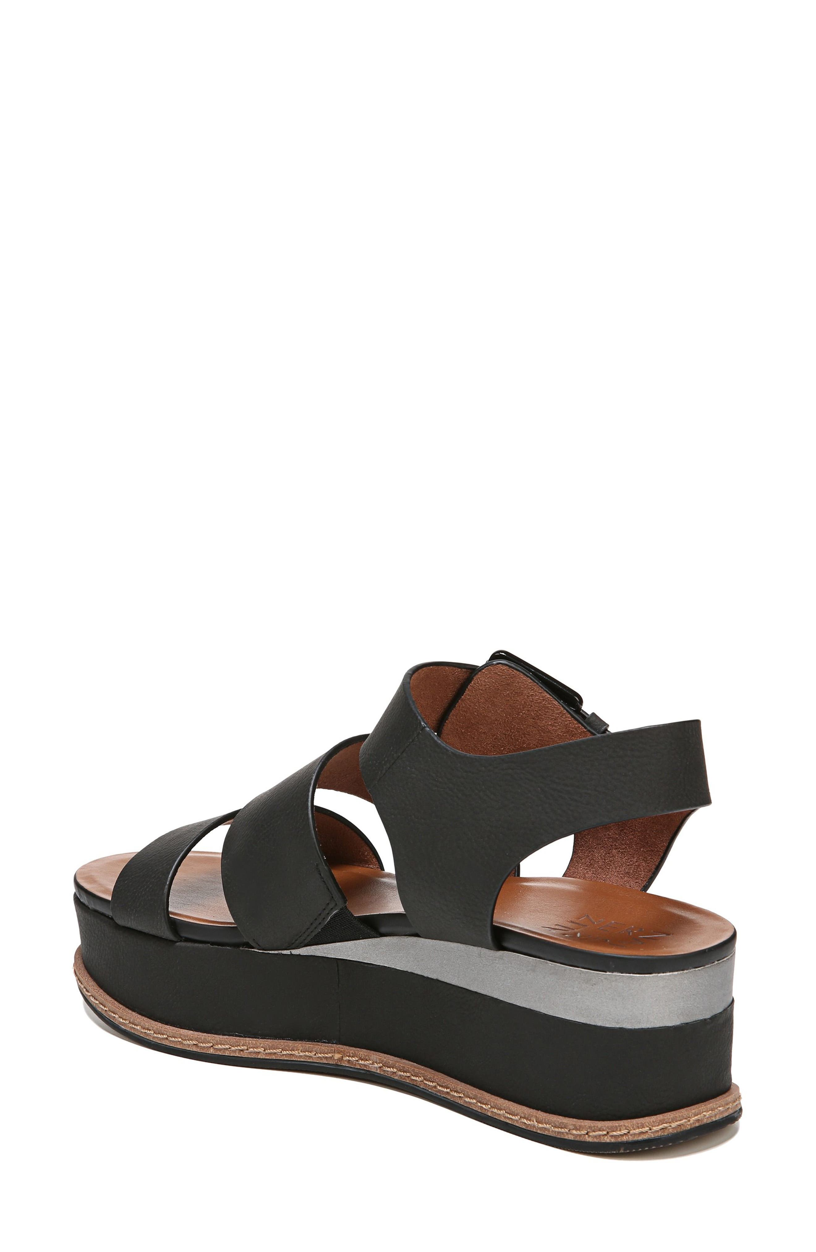 NATURALIZER, Billie Platform Sandal, Alternate thumbnail 2, color, BLACK FAUX NUBUCK LEATHER