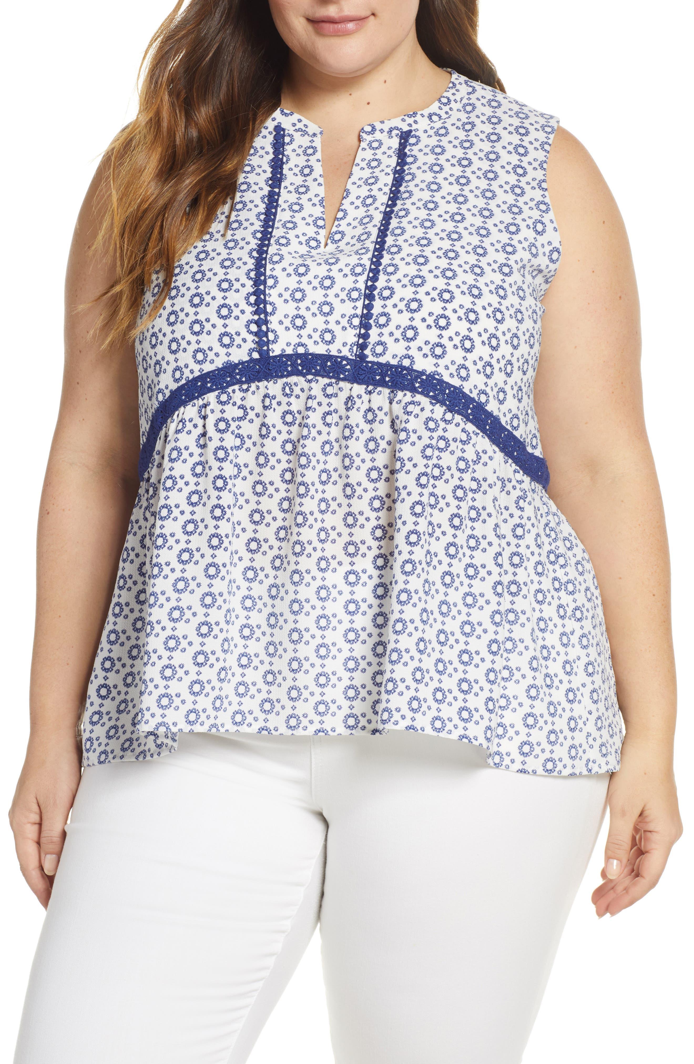 GIBSON, x International Women's Day Lindsey Crochet Detail Babydoll Blouse, Main thumbnail 1, color, WHITE/ NAVY GEO