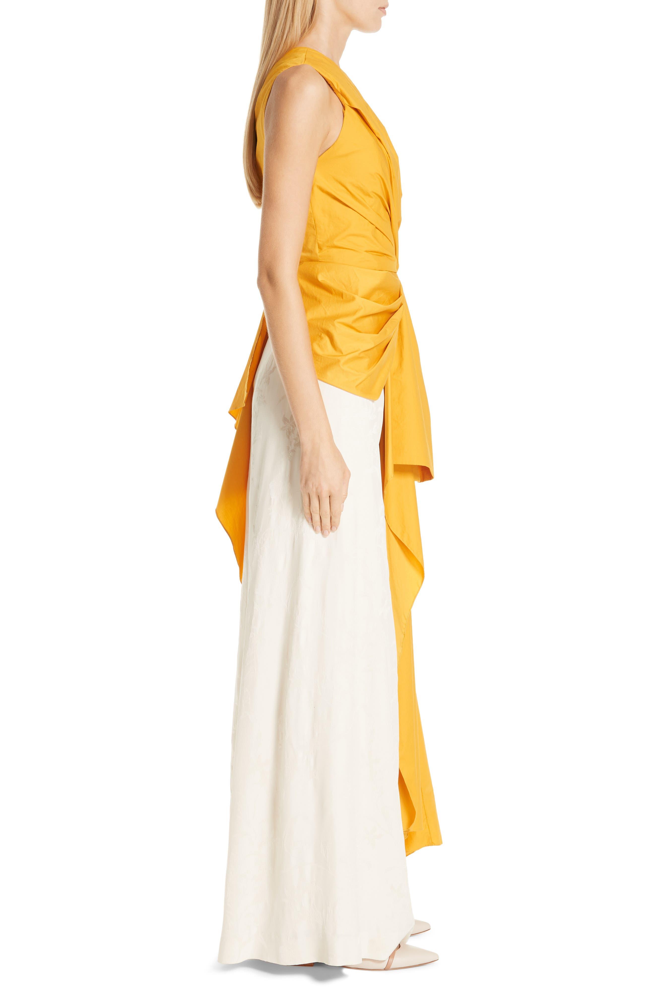 JOHANNA ORTIZ, One-Shoulder Asymmetrical Stretch Poplin Top, Alternate thumbnail 3, color, DANDELION