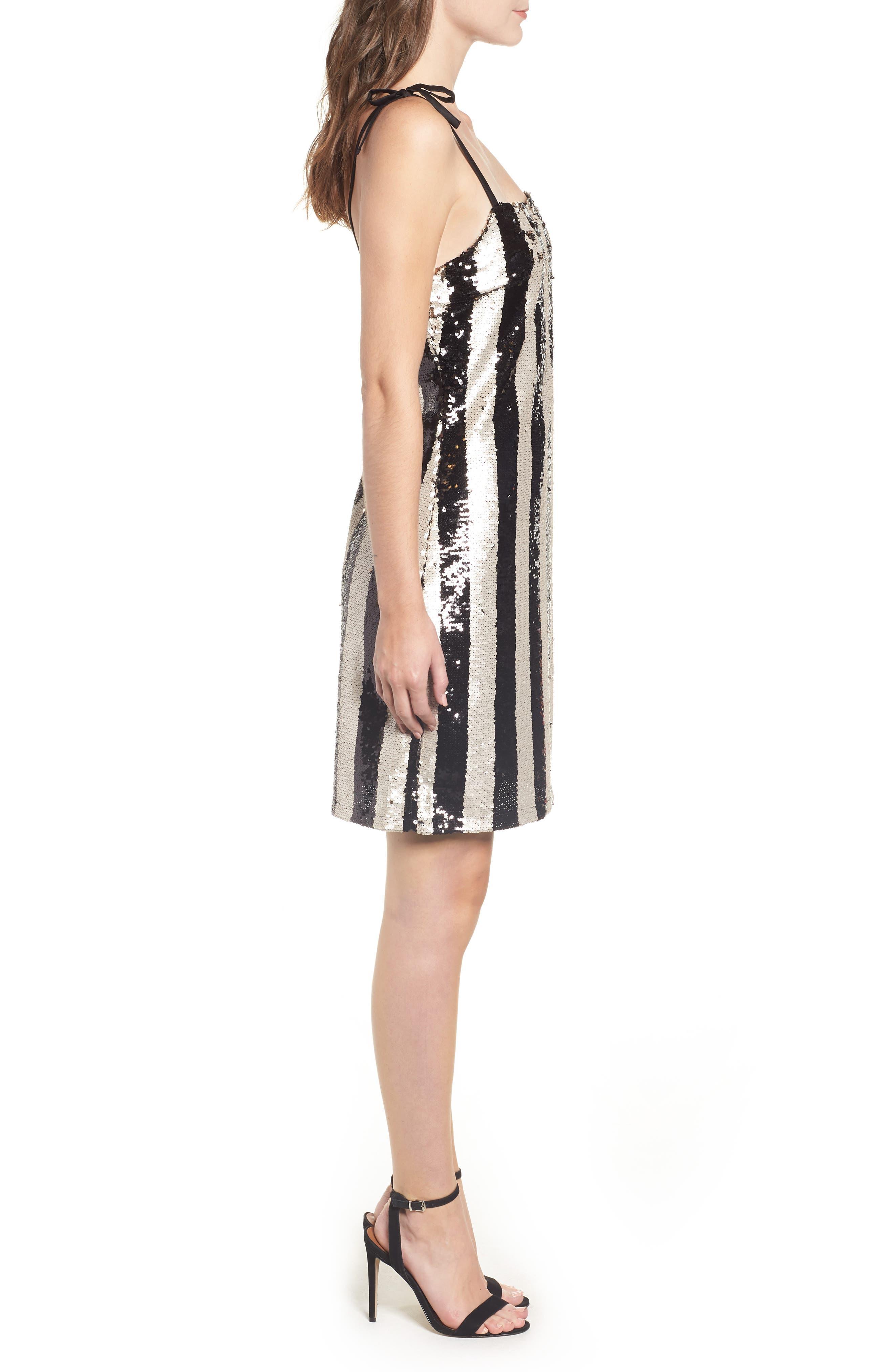 CUPCAKES AND CASHMERE, Vertical Sequin Stripe Dress, Alternate thumbnail 4, color, BLACK