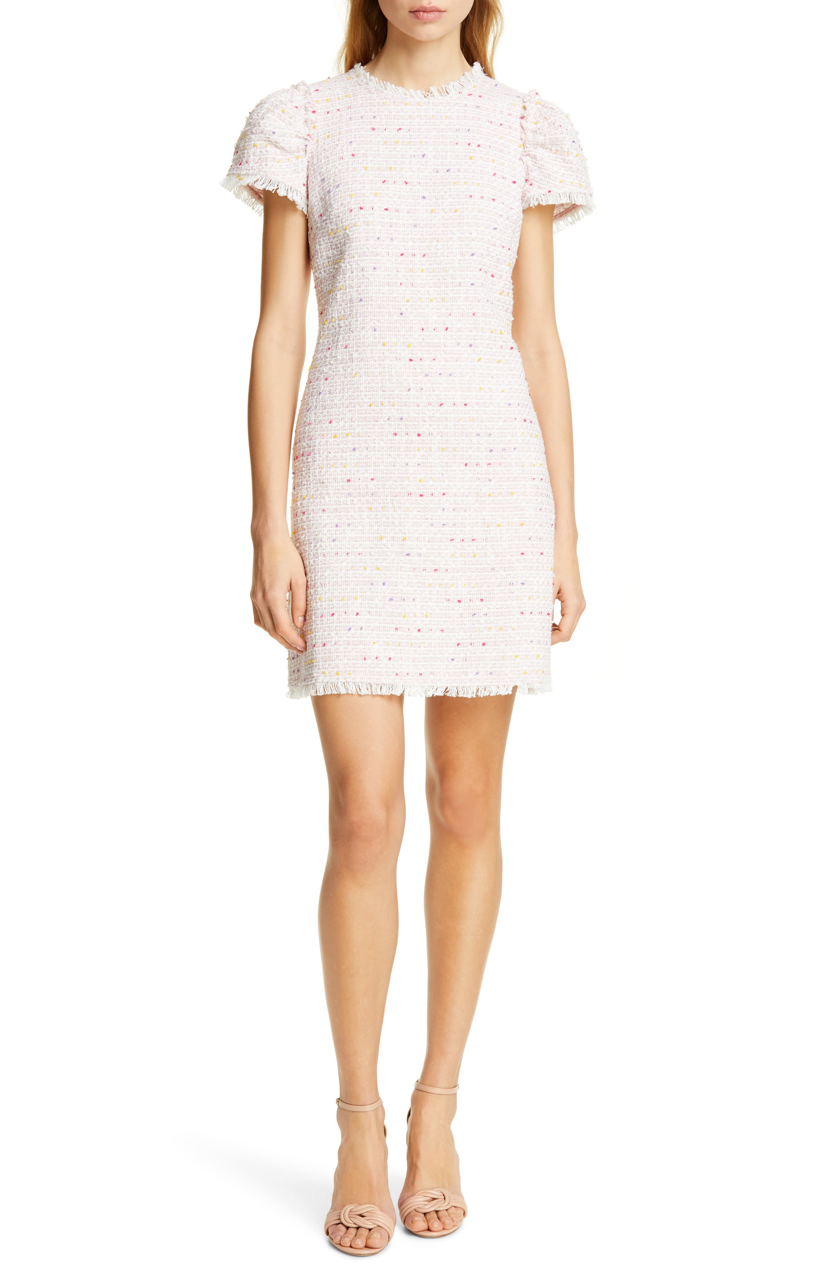 Kate Spade New York Puff Sleeve Tweed Dress, Pink