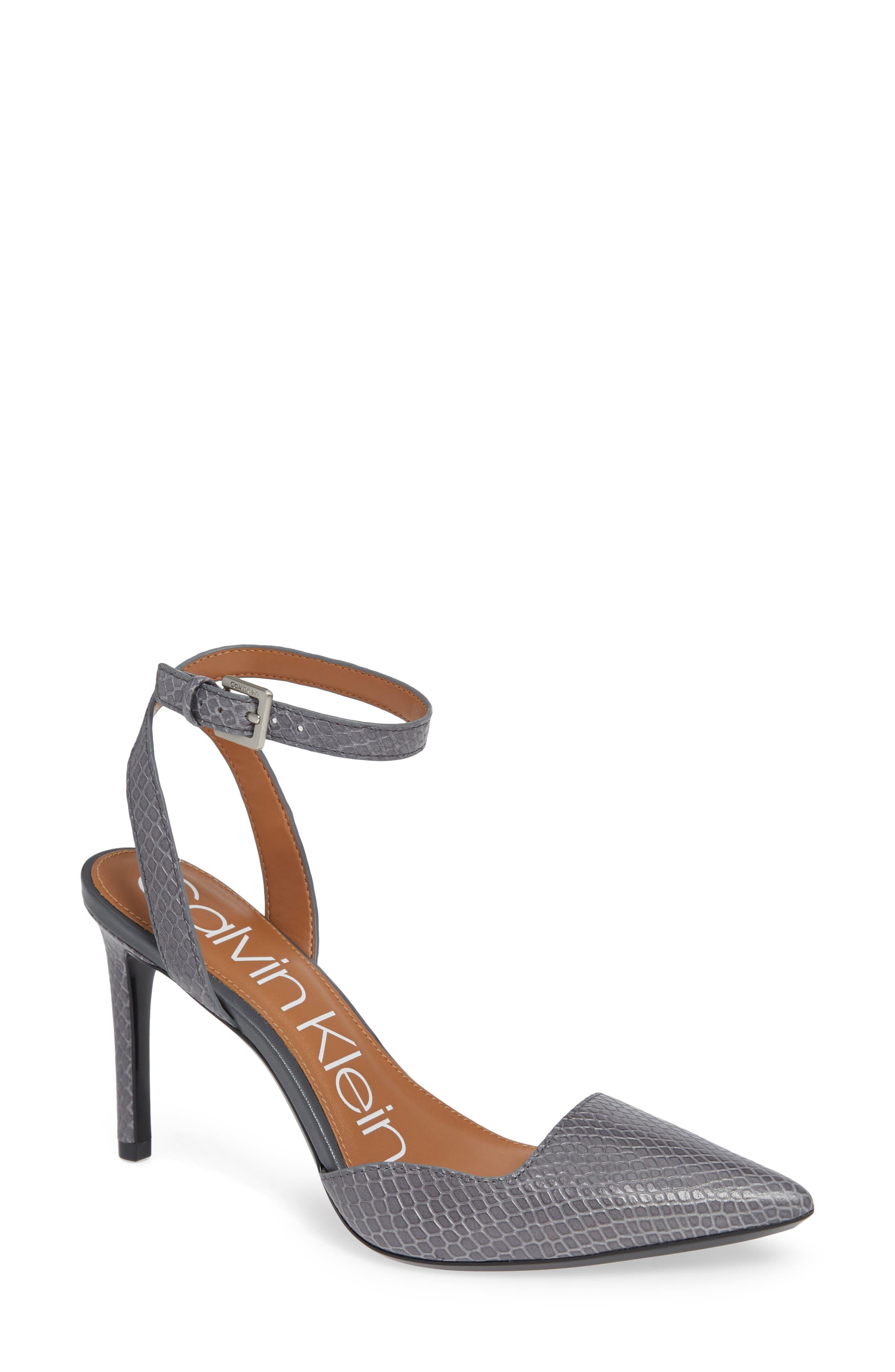 CALVIN KLEIN Raffaela Ankle Strap Pump, Main, color, STEEL GREYSTONE LEATHER