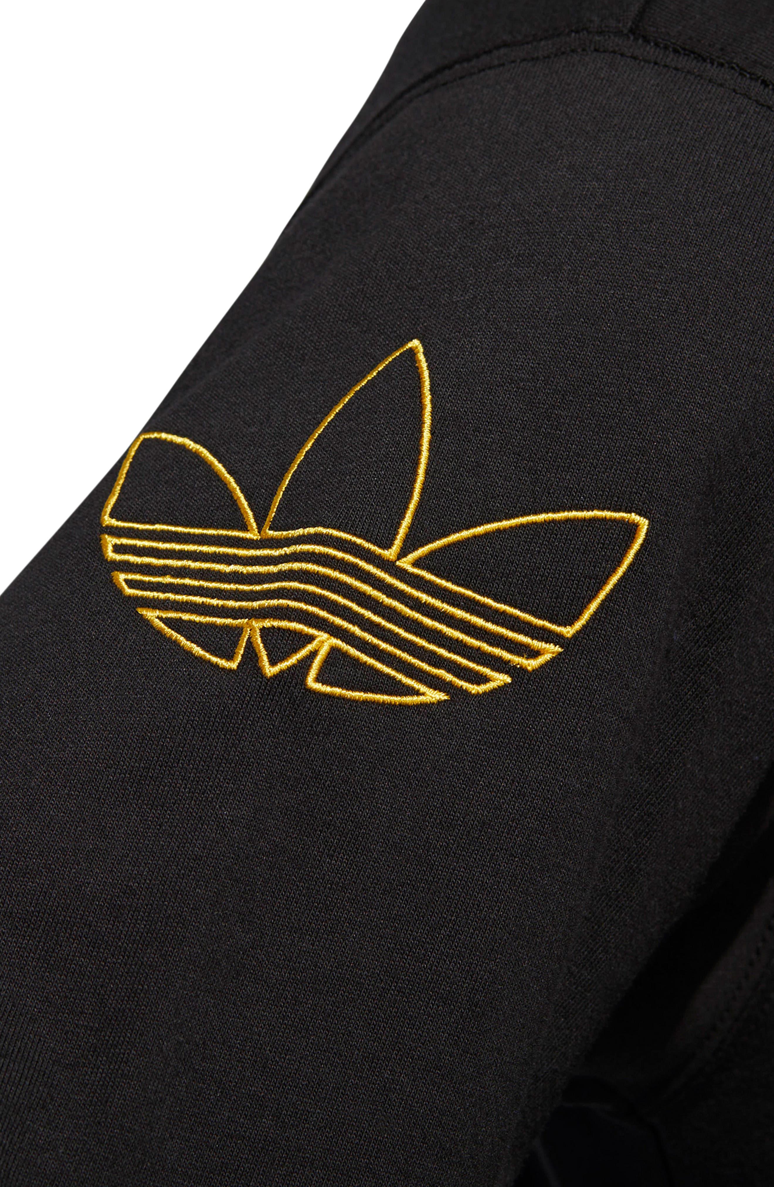 ADIDAS ORIGINALS, Embroidered Trefoil Long Sleeve T-Shirt, Alternate thumbnail 4, color, BLACK/ WHITE