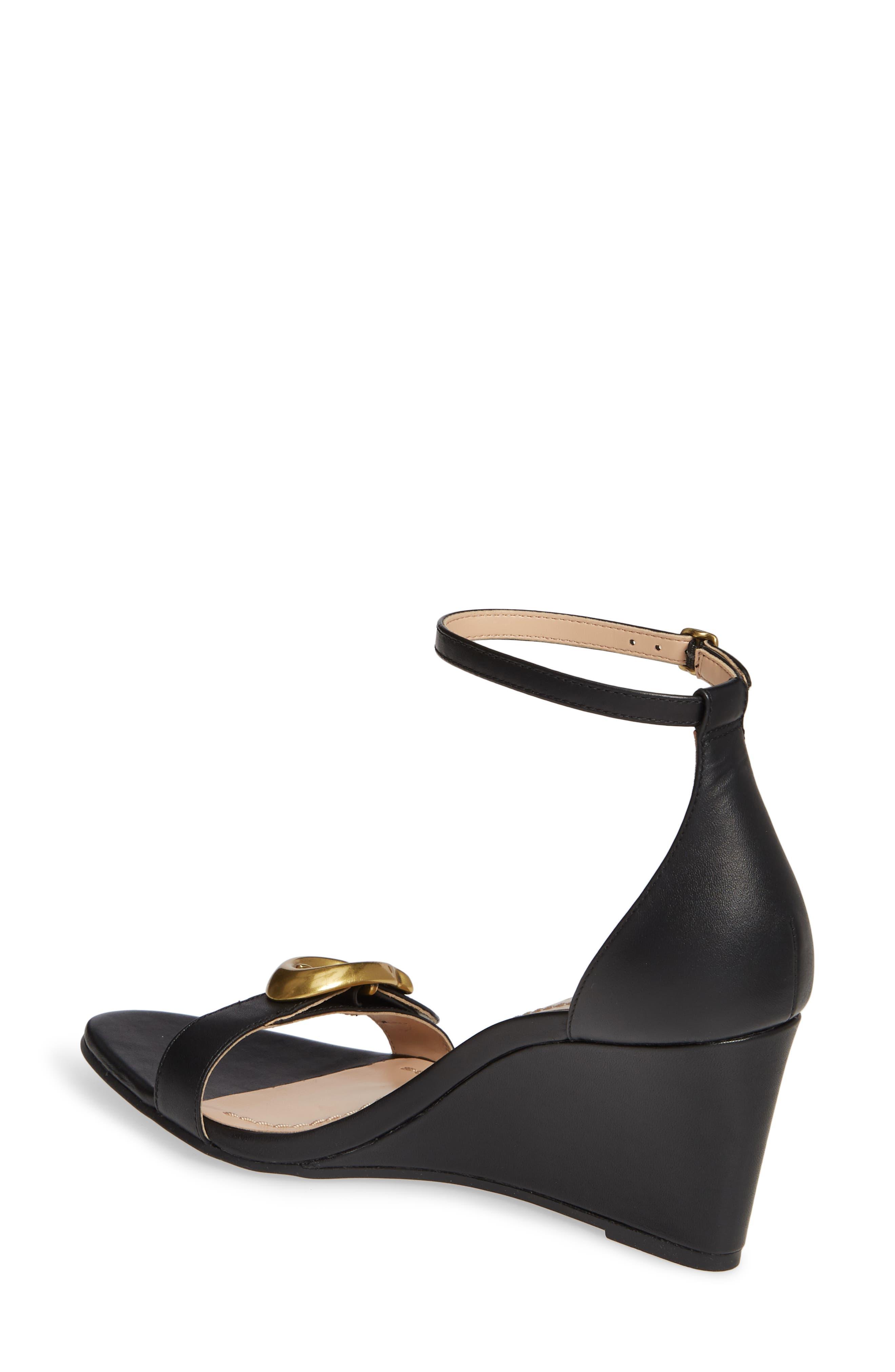COACH, Odetta Wedge Ankle Strap Sandal, Alternate thumbnail 2, color, BLACK LEATHER