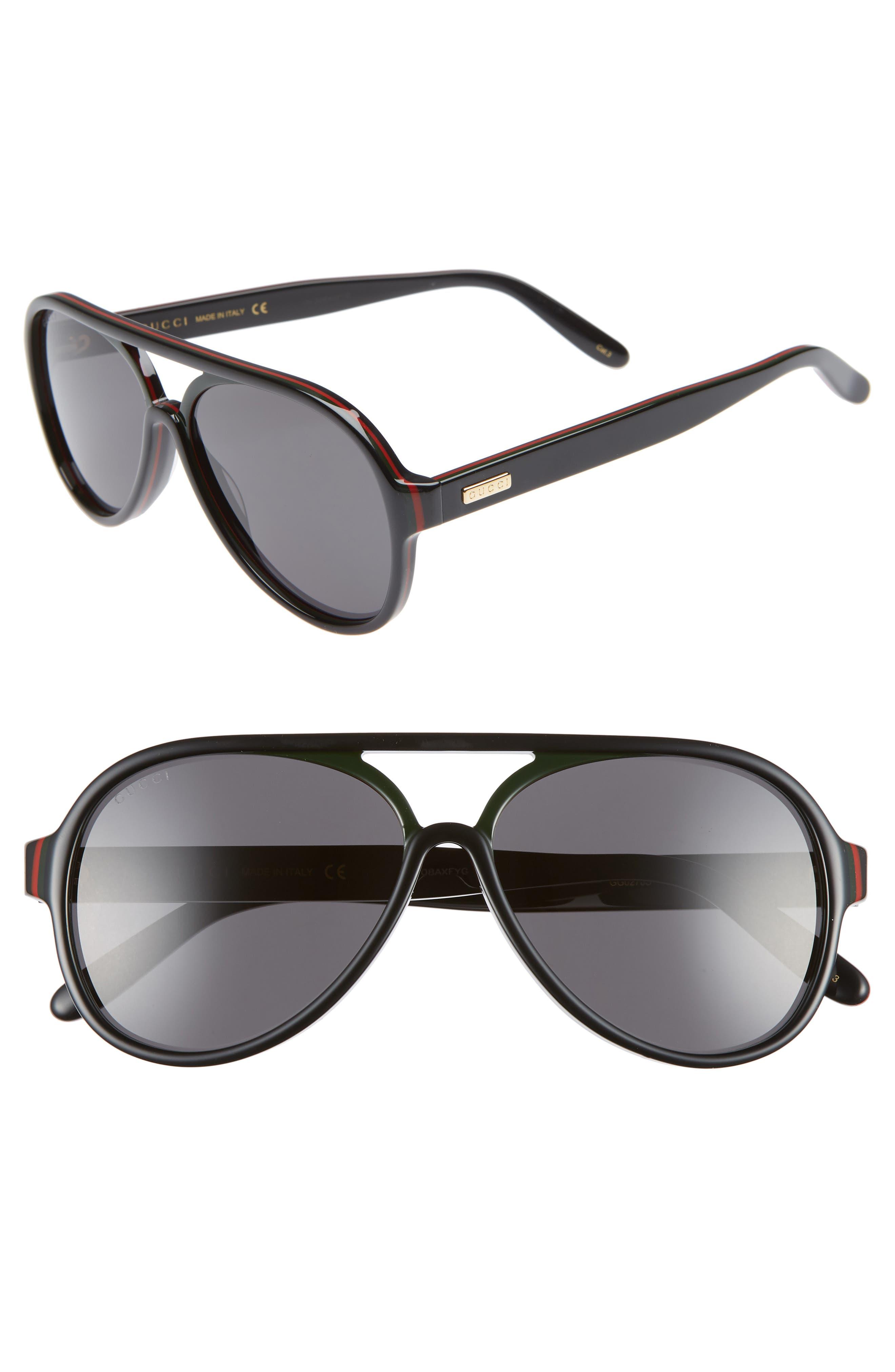 GUCCI 57mm Aviator Sunglasses, Main, color, BLACK