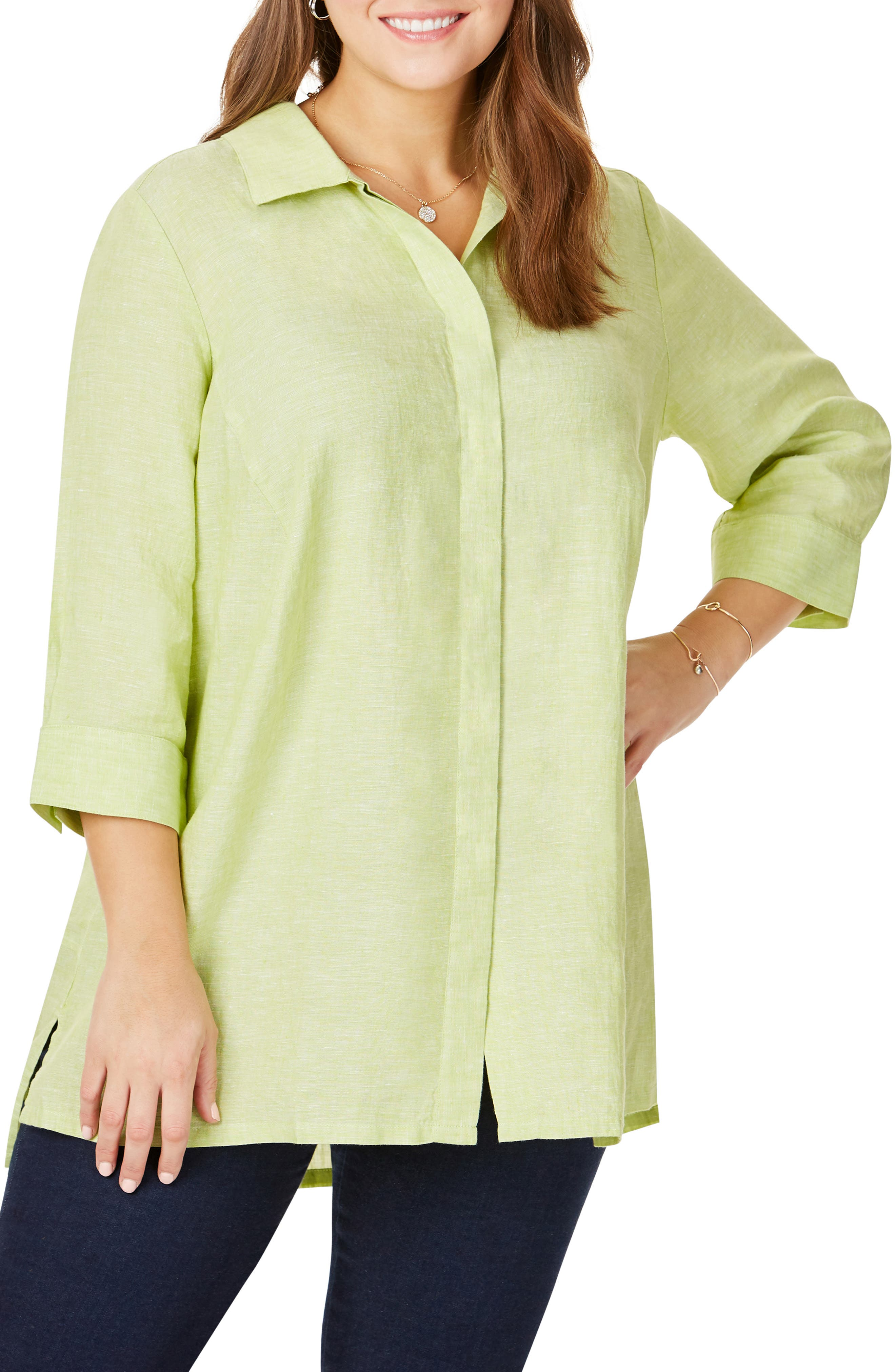 FOXCROFT, Chambray Linen Tunic Shirt, Main thumbnail 1, color, MARGARITA