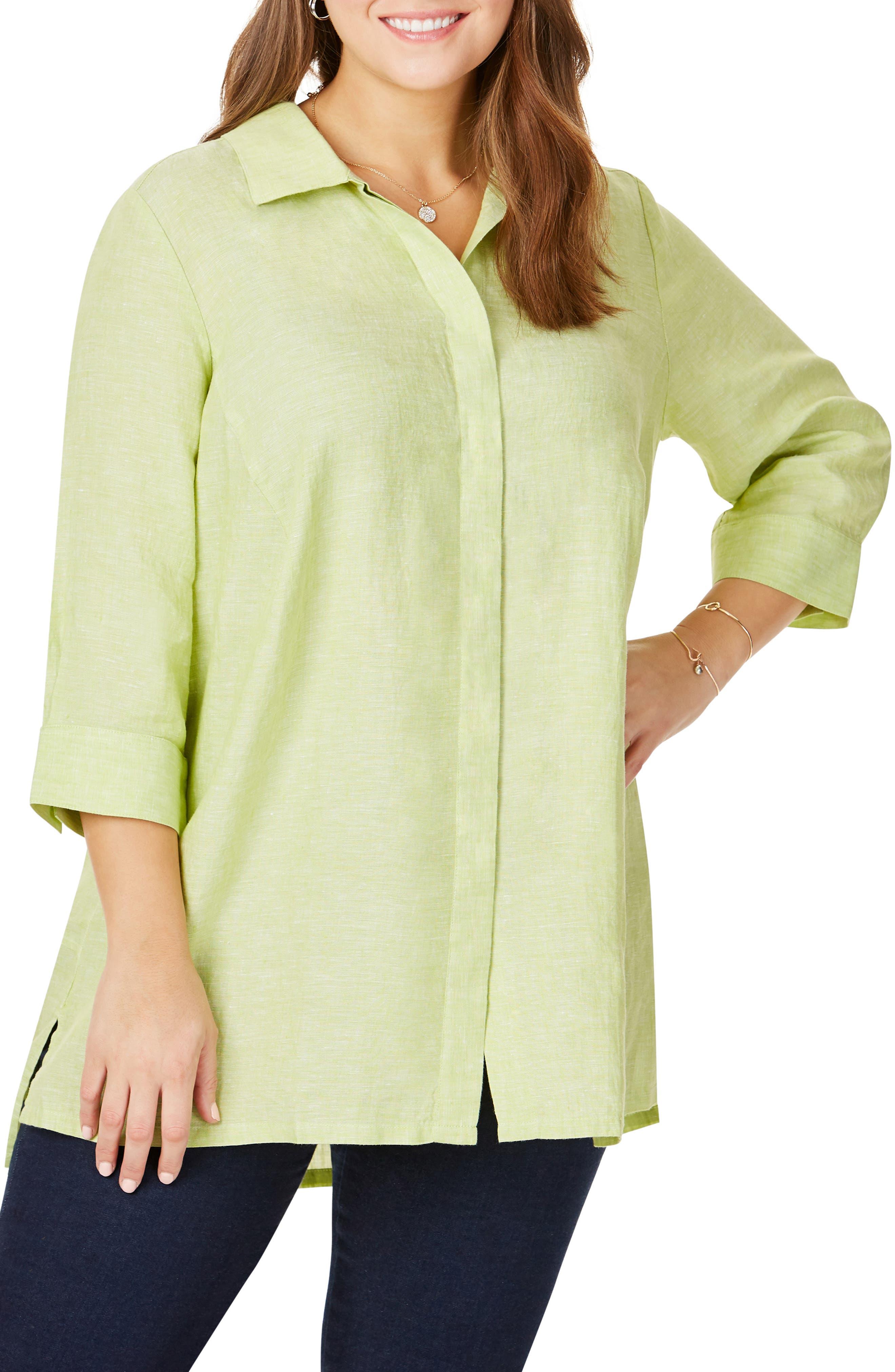 FOXCROFT Chambray Linen Tunic Shirt, Main, color, MARGARITA