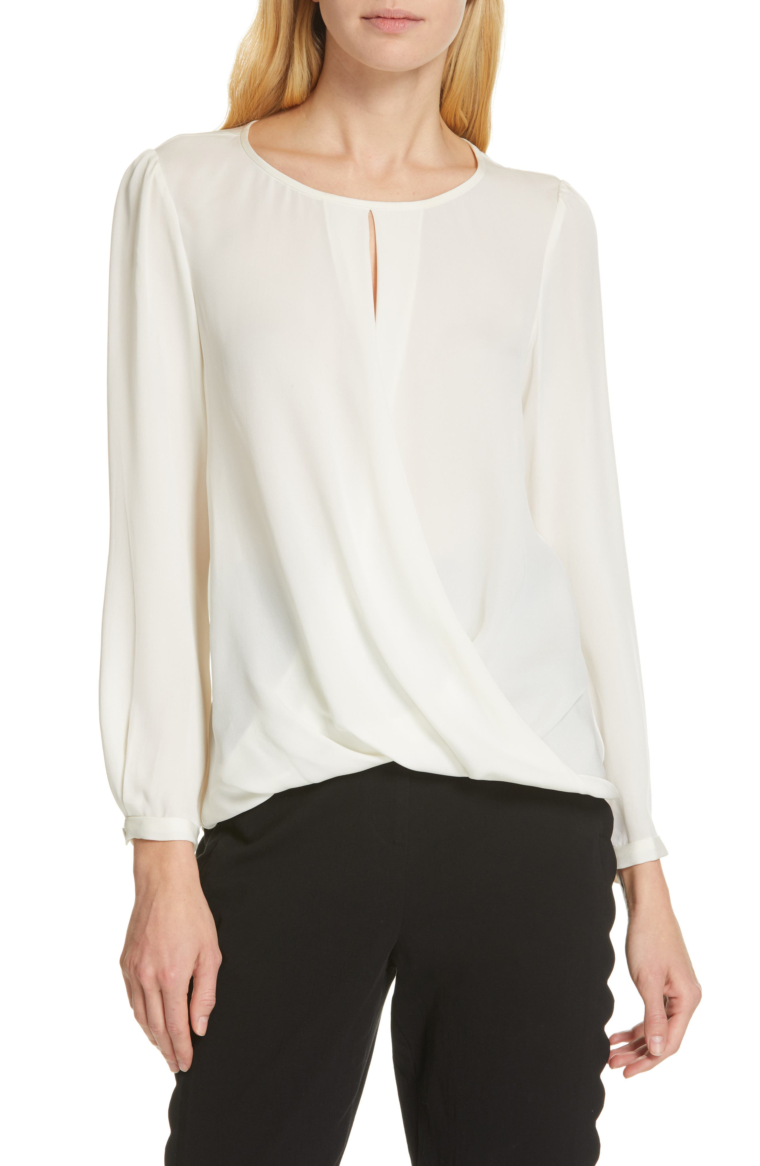 TAILORED BY REBECCA TAYLOR, Silk Georgette Top, Main thumbnail 1, color, SNOW