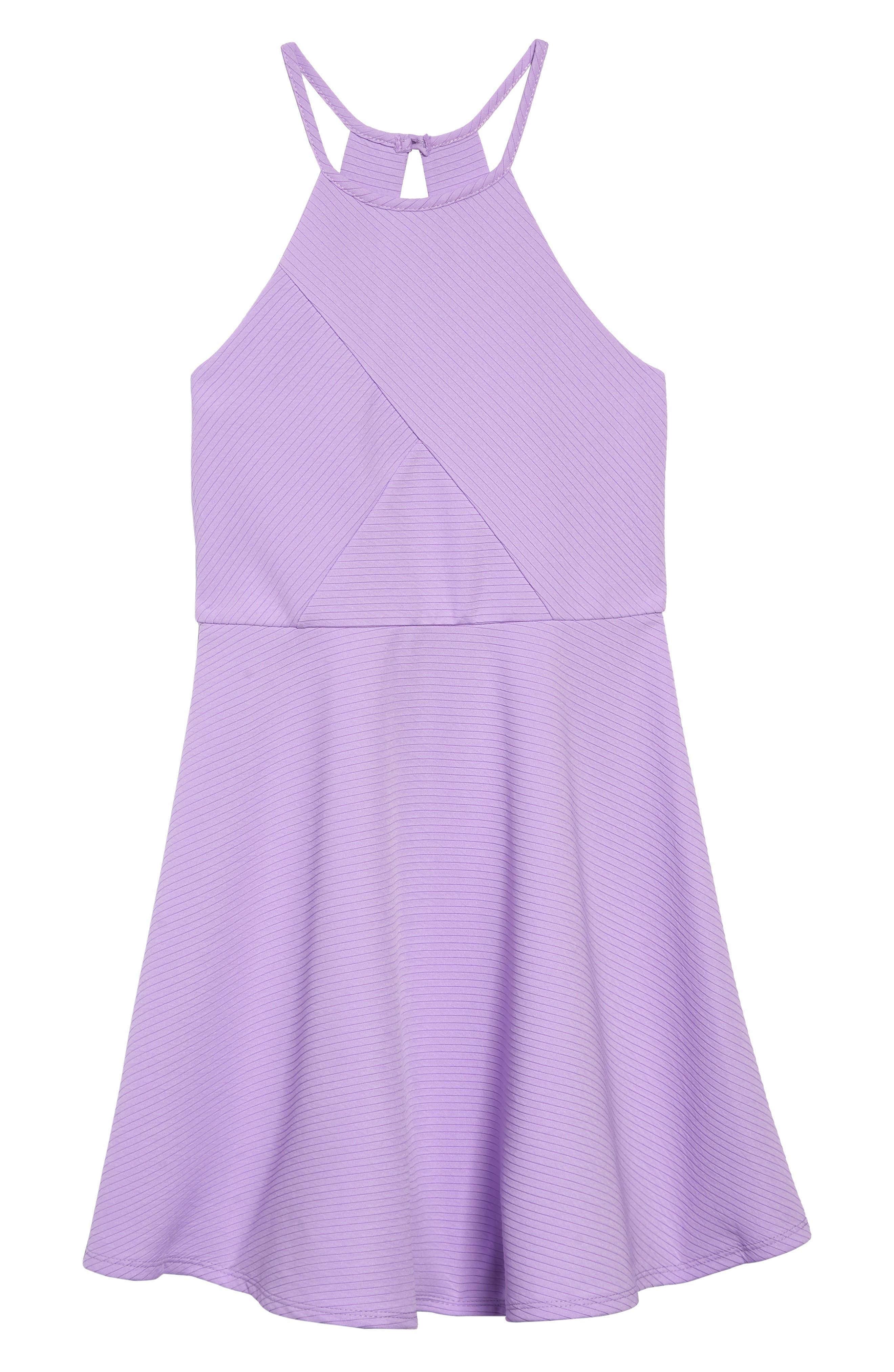 ZUNIE Textured Skater Dress, Main, color, LILAC