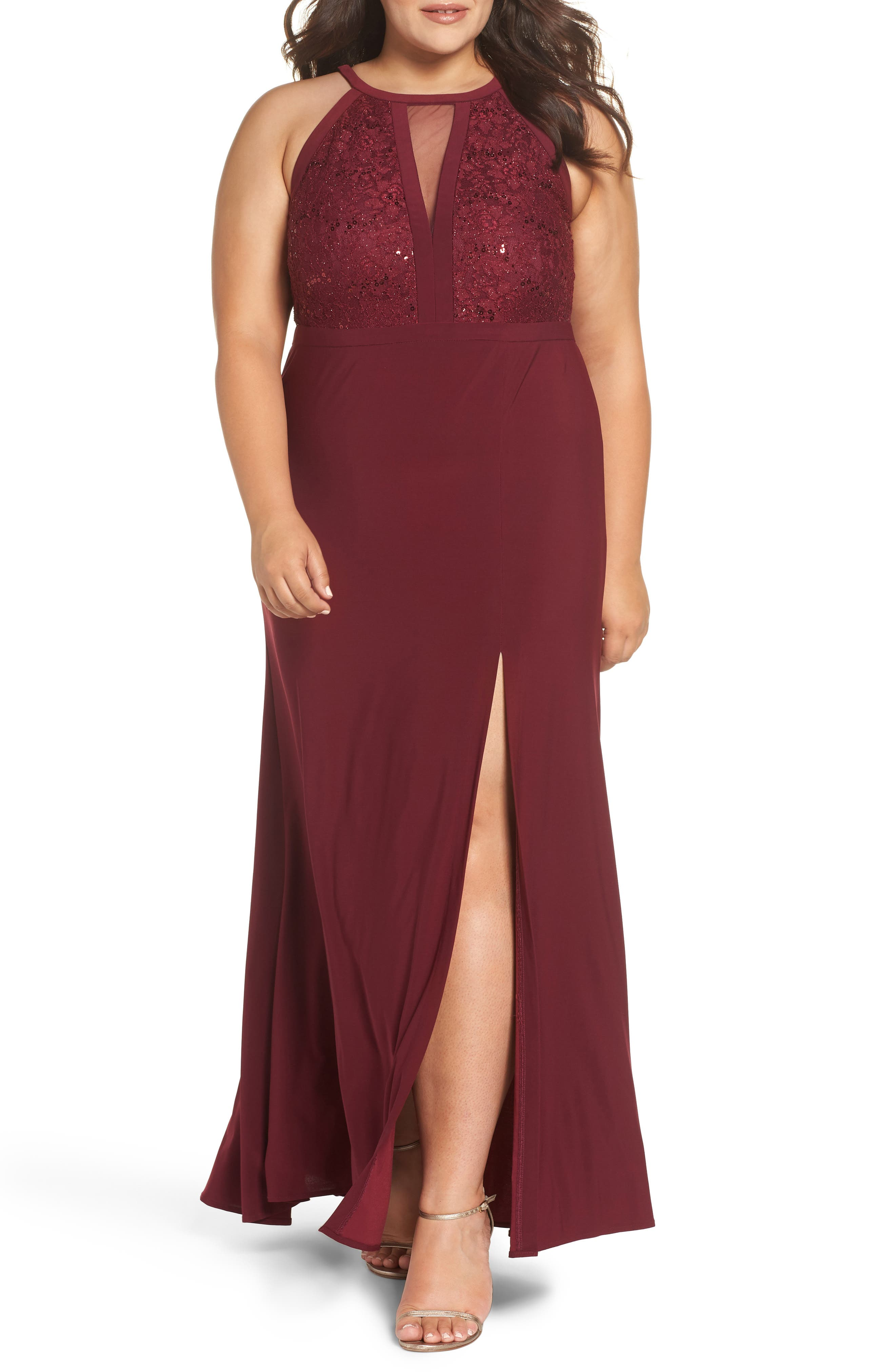 Plus Size Morgan & Co. Illusion Sparkle Lace & Knit Gown, Red