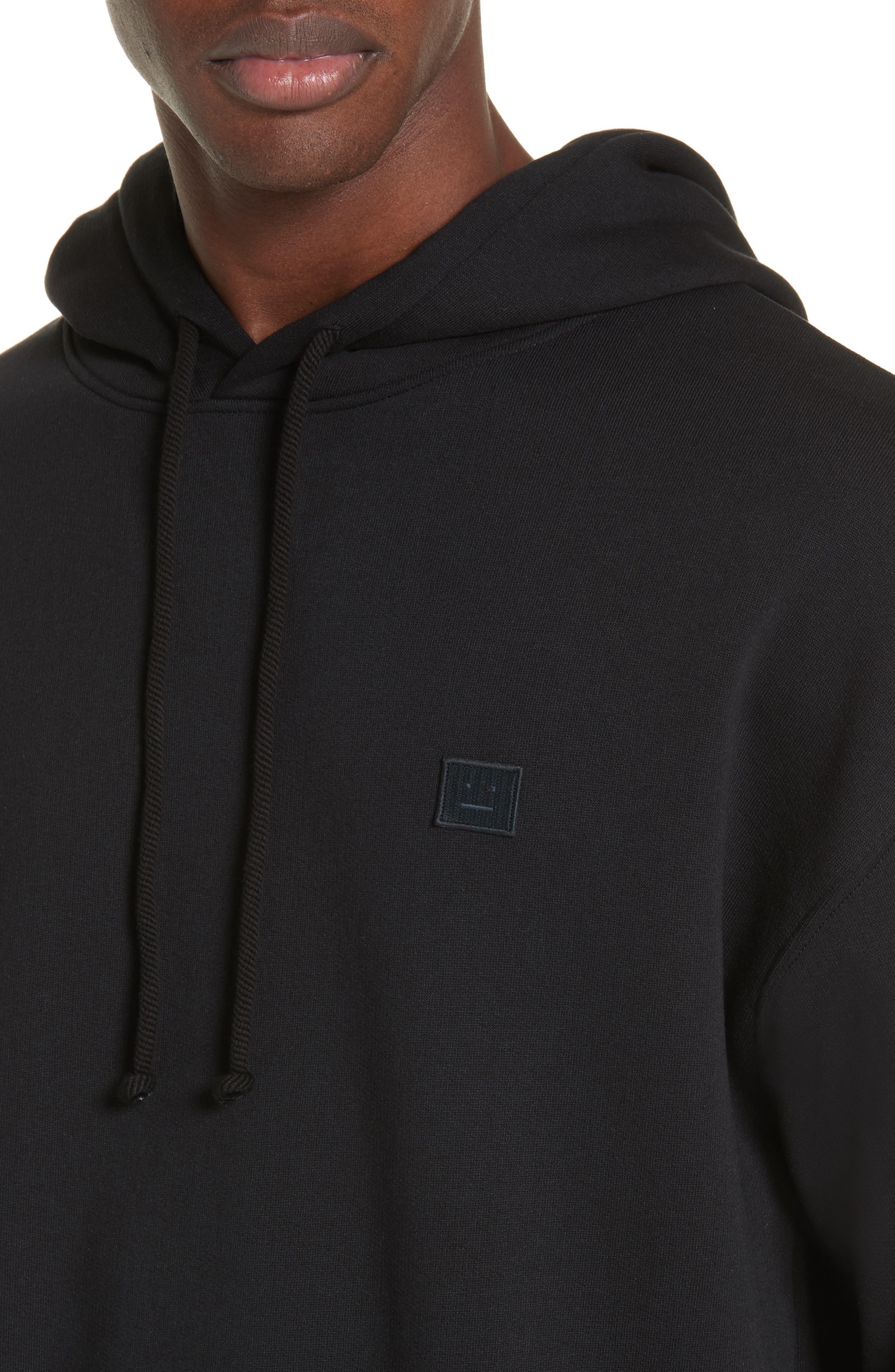 ACNE STUDIOS, Farrin Face Hooded Sweatshirt, Alternate thumbnail 4, color, BLACK