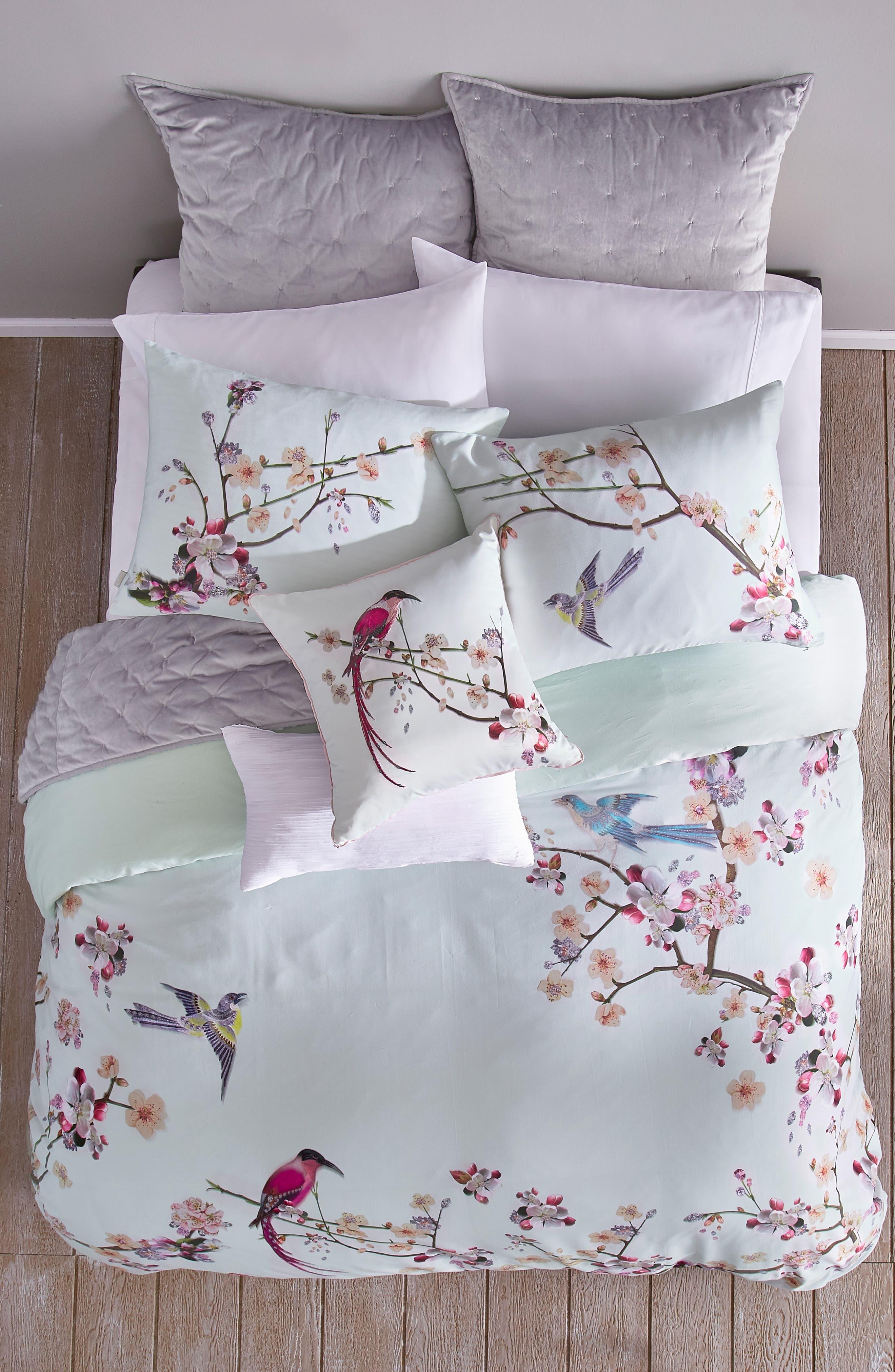 TED BAKER LONDON, Cherry Blossom Print Duvet Cover & Sham Set, Alternate thumbnail 3, color, MINT