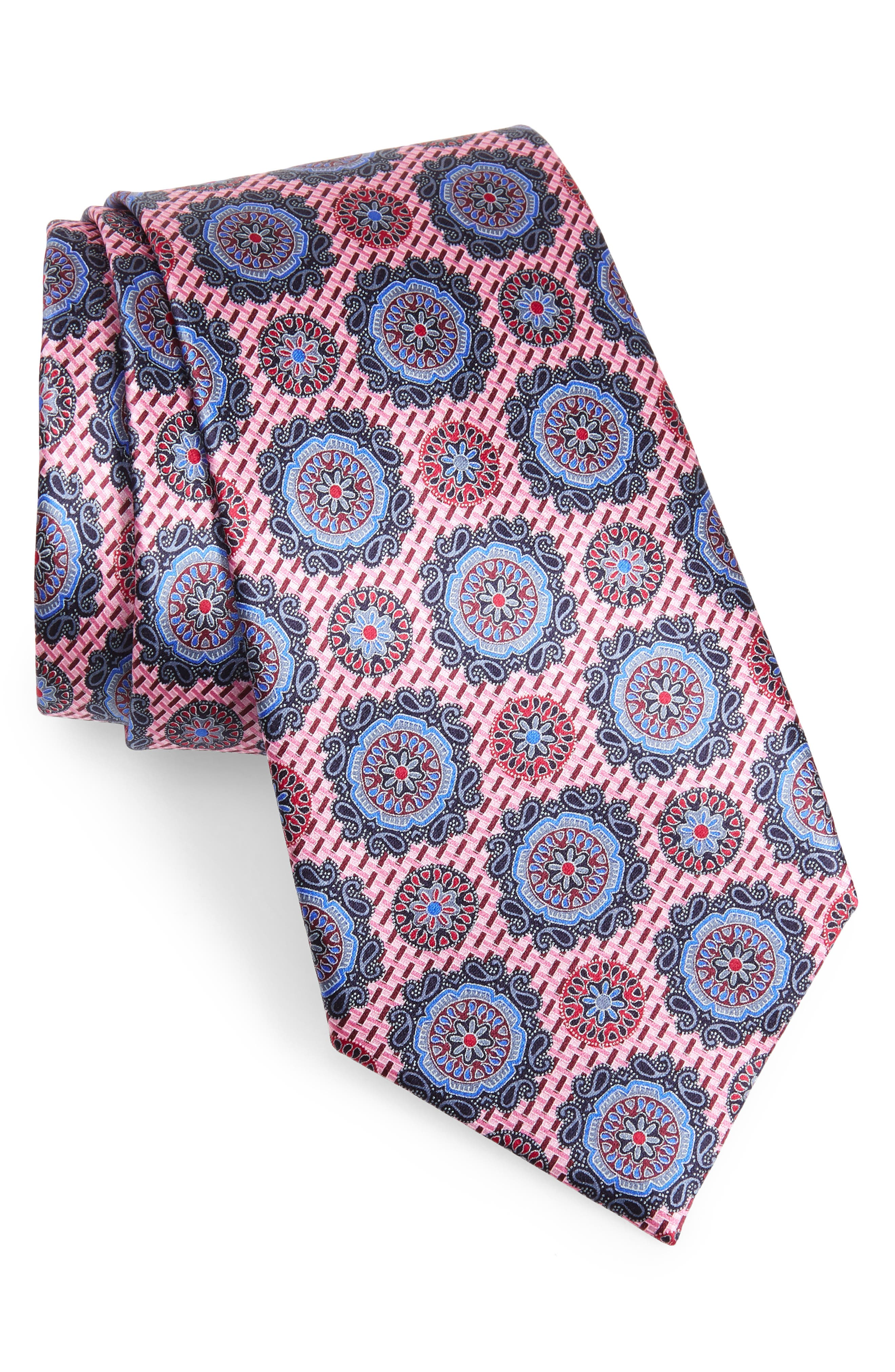 ERMENEGILDO ZEGNA Medallion Silk Tie, Main, color, PINK