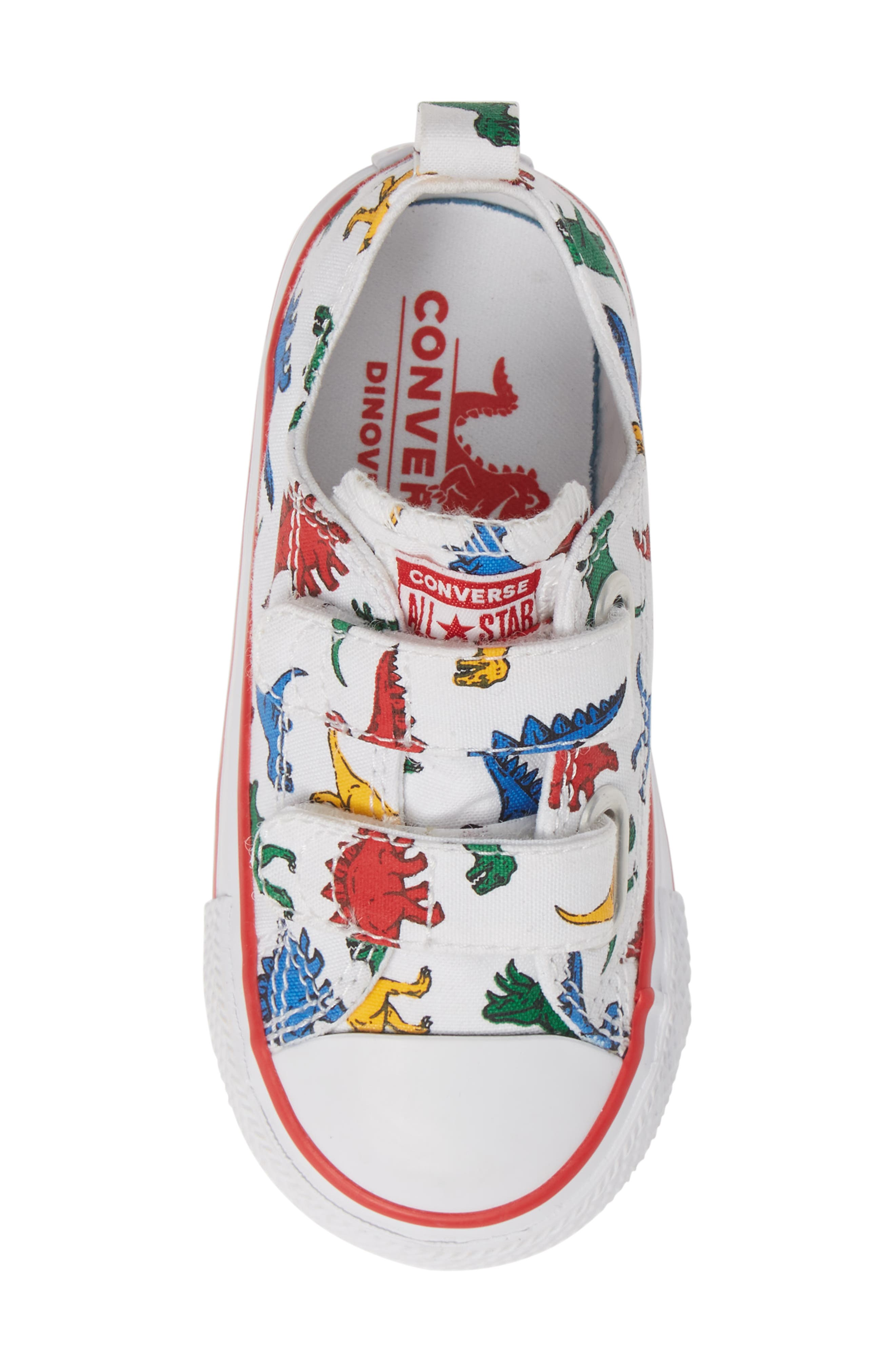 CONVERSE, Chuck Taylor<sup>®</sup> All Star<sup>®</sup> Ox Sneaker, Alternate thumbnail 5, color, WHITE/ ENAMEL RED/ BLUE DINO