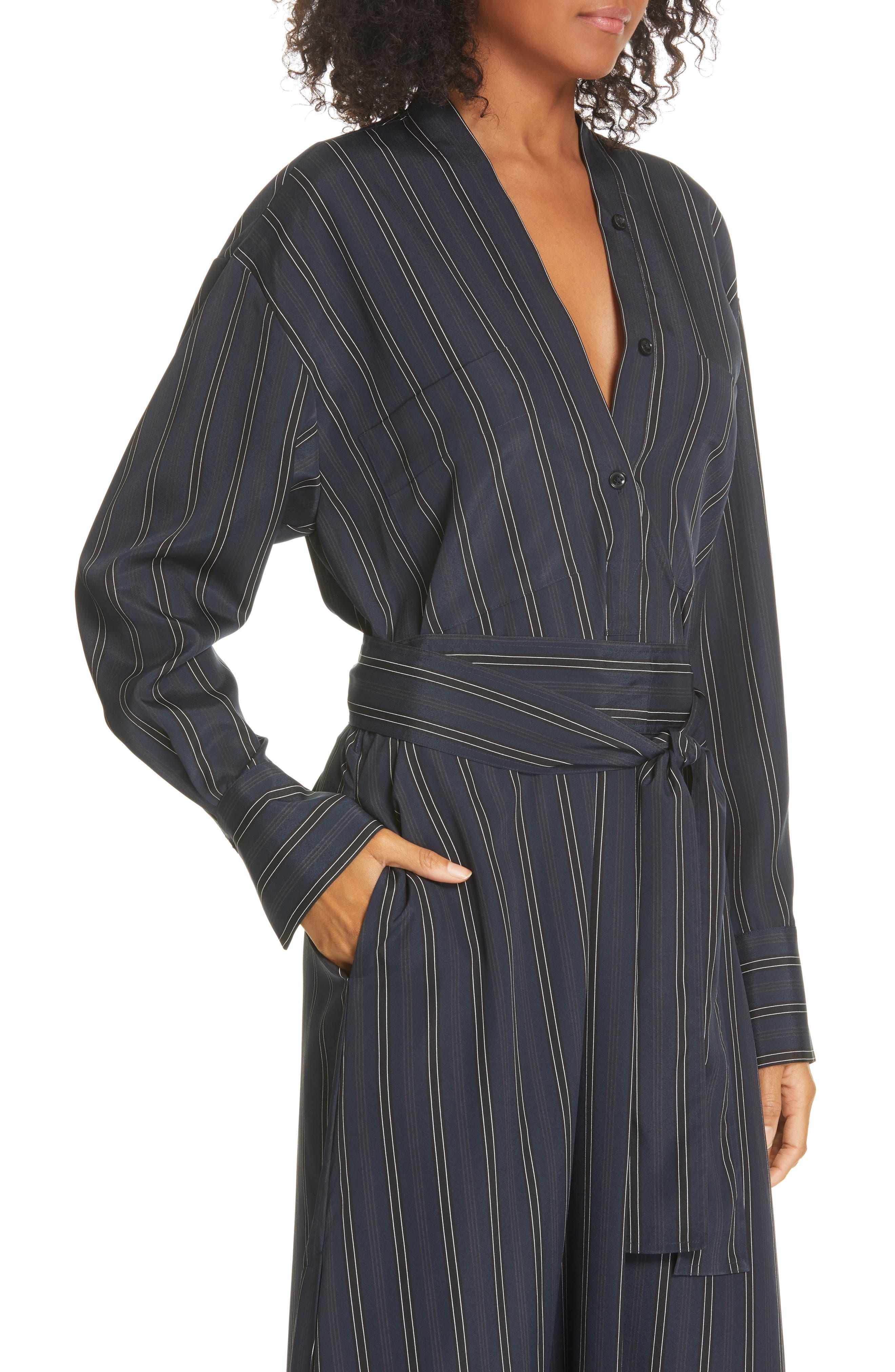 VINCE, Stripe Belted Midi Shirtdress, Alternate thumbnail 5, color, MARINE