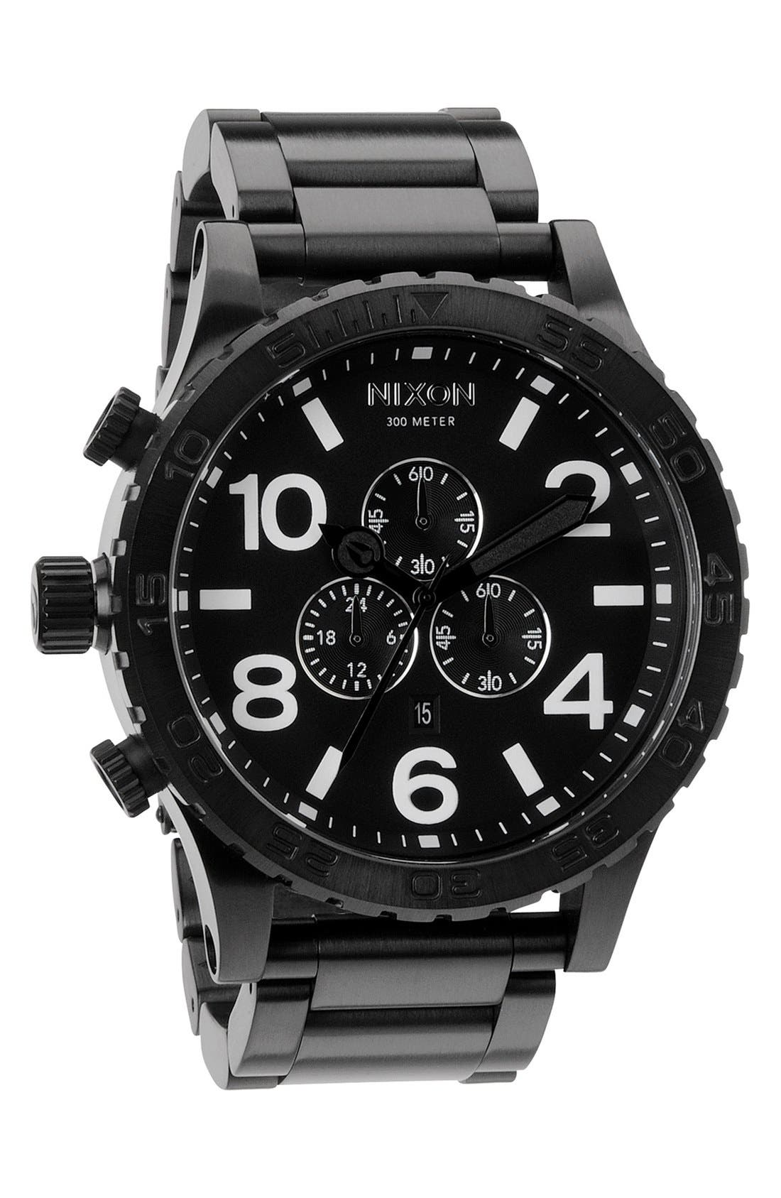 NIXON, 'The 51-30 Chrono' Watch, 51mm, Alternate thumbnail 4, color, MATTE BLACK/ GOLD