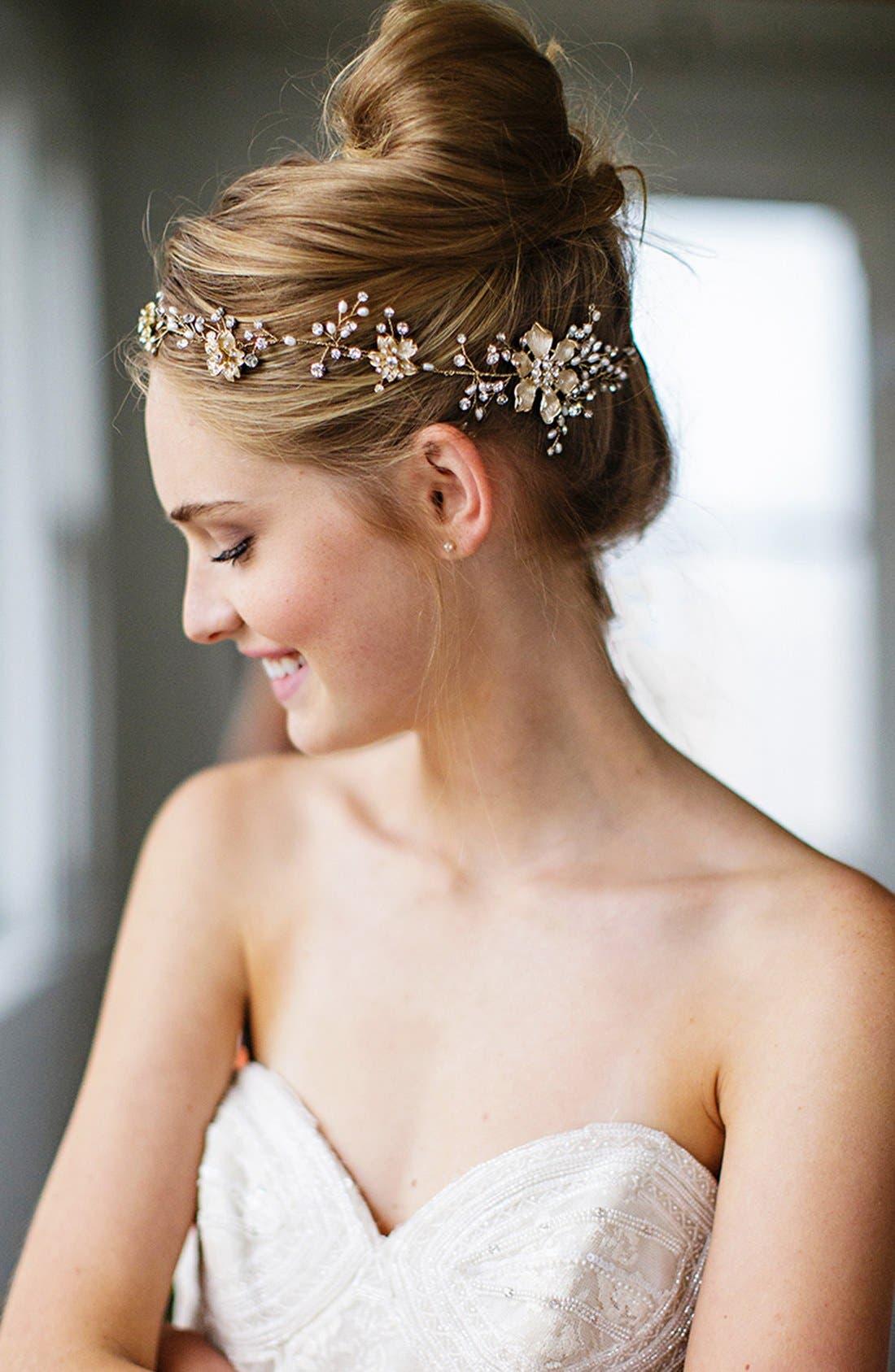 BRIDES & HAIRPINS, Atiena Embellished Floral Motif Halo & Sash, Alternate thumbnail 7, color, 14 K GOLD