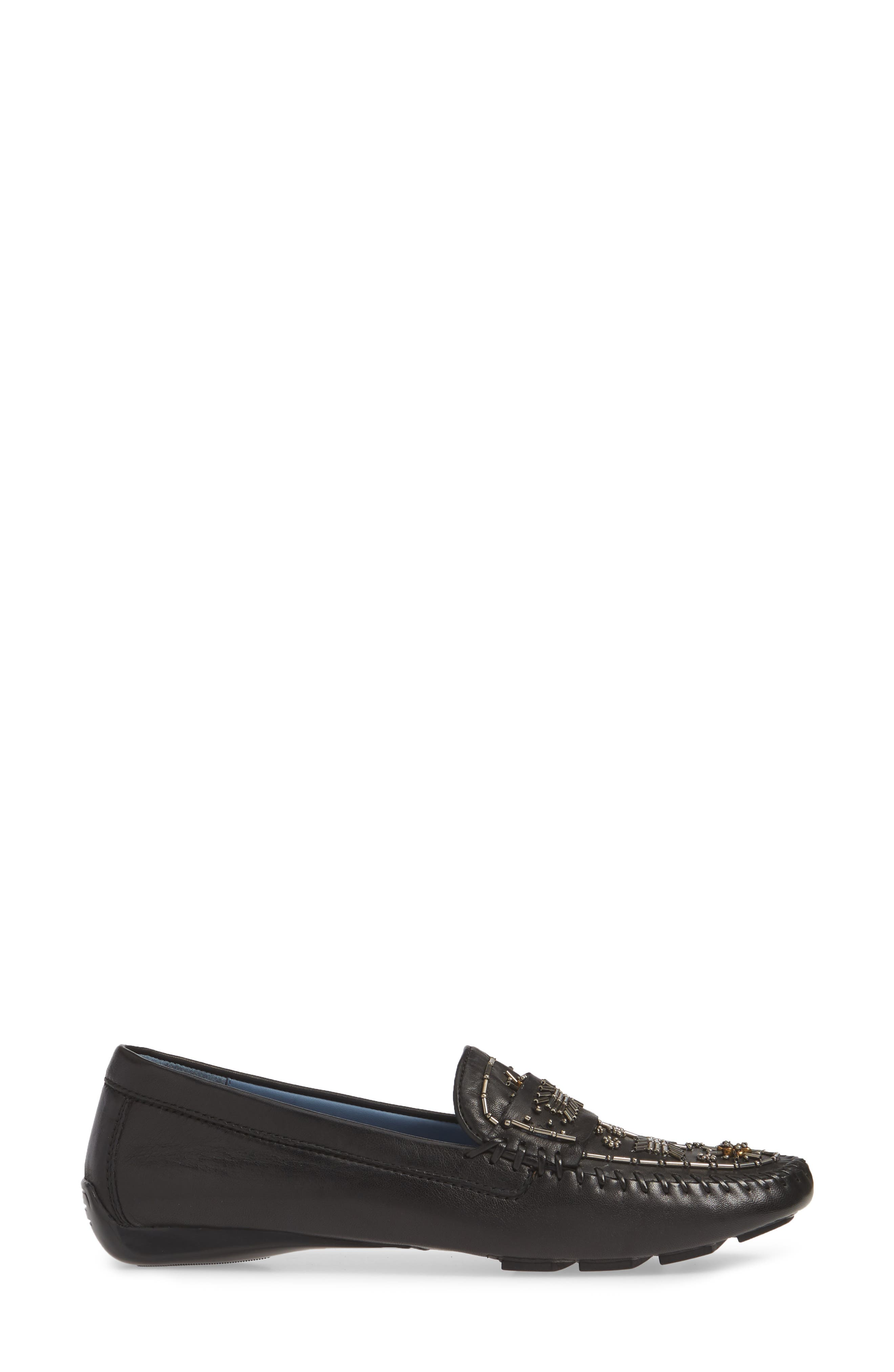 ROBERT ZUR, Majorca Embellished Loafer, Alternate thumbnail 3, color, BLACK TGLOVE