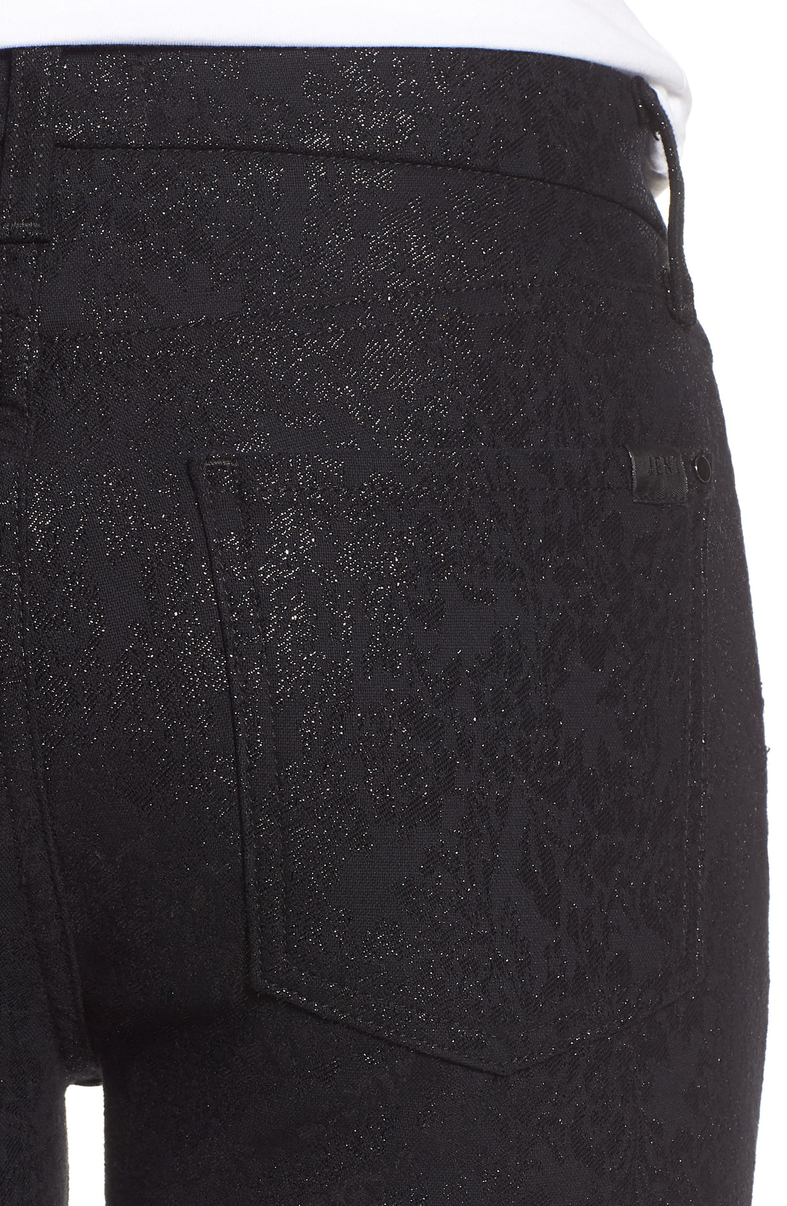 JEN7 BY 7 FOR ALL MANKIND, Floral Metallic Ankle Skinny Jeans, Alternate thumbnail 5, color, BLACK
