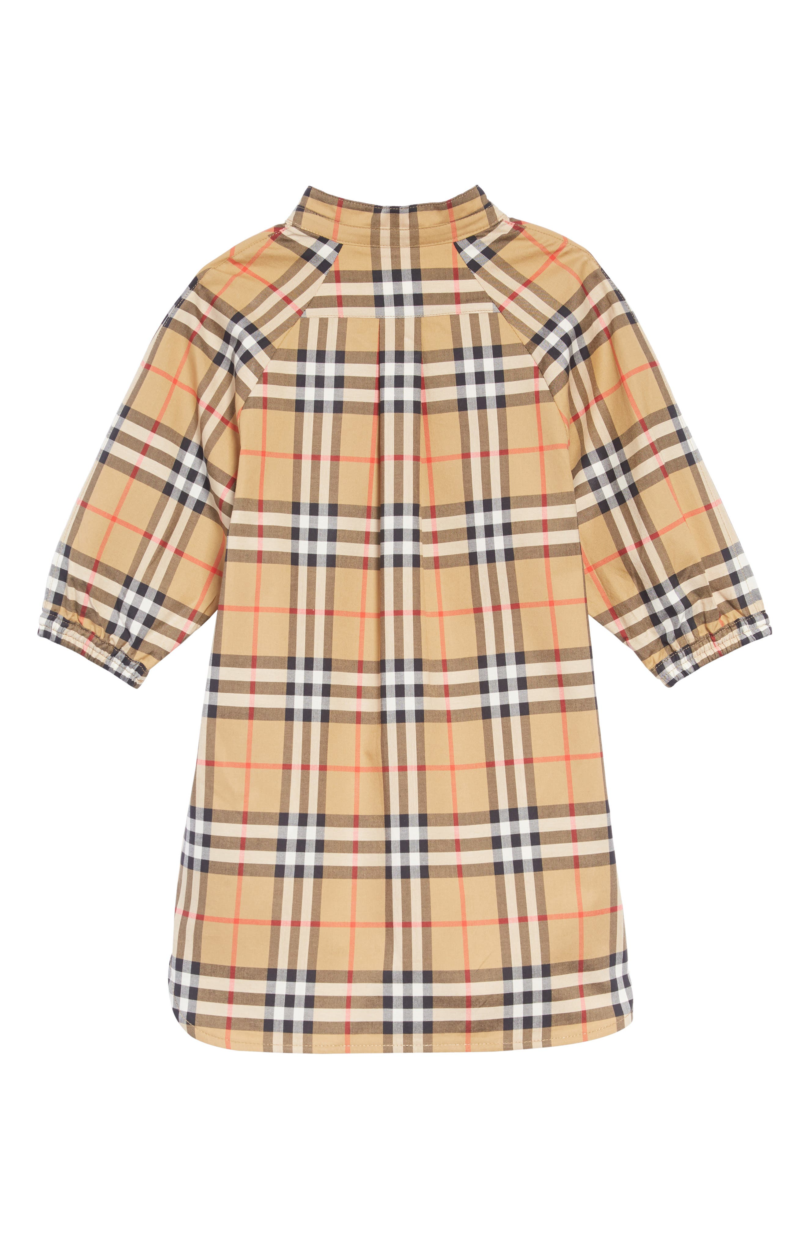 BURBERRY, Elodie Vintage Check Shirtdress, Alternate thumbnail 2, color, ANTIQUE YELLOW