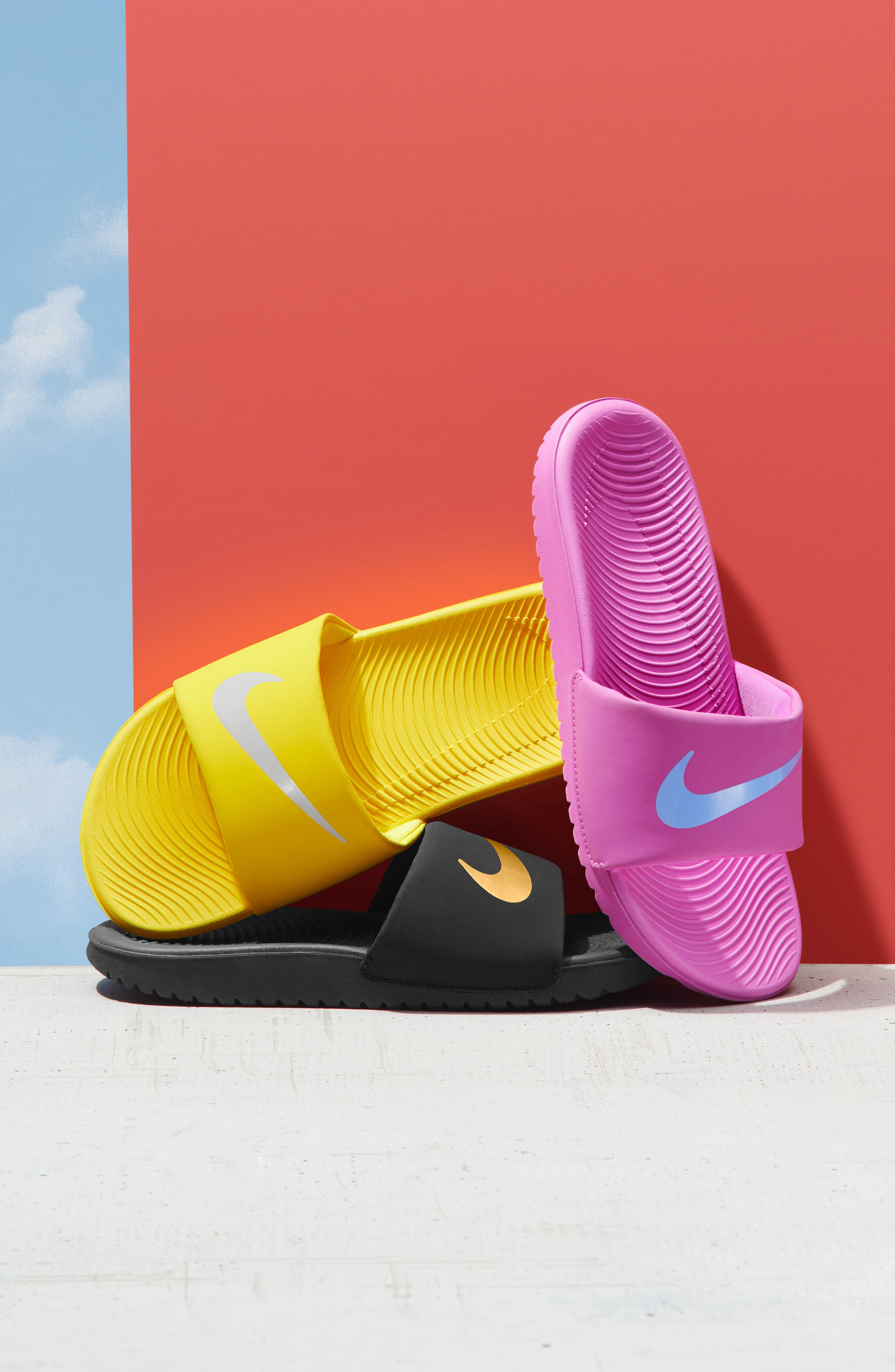 NIKE, 'Kawa' Slide Sandal, Alternate thumbnail 7, color, ARCTIC PINK/ WHITE/ RED BRONZE