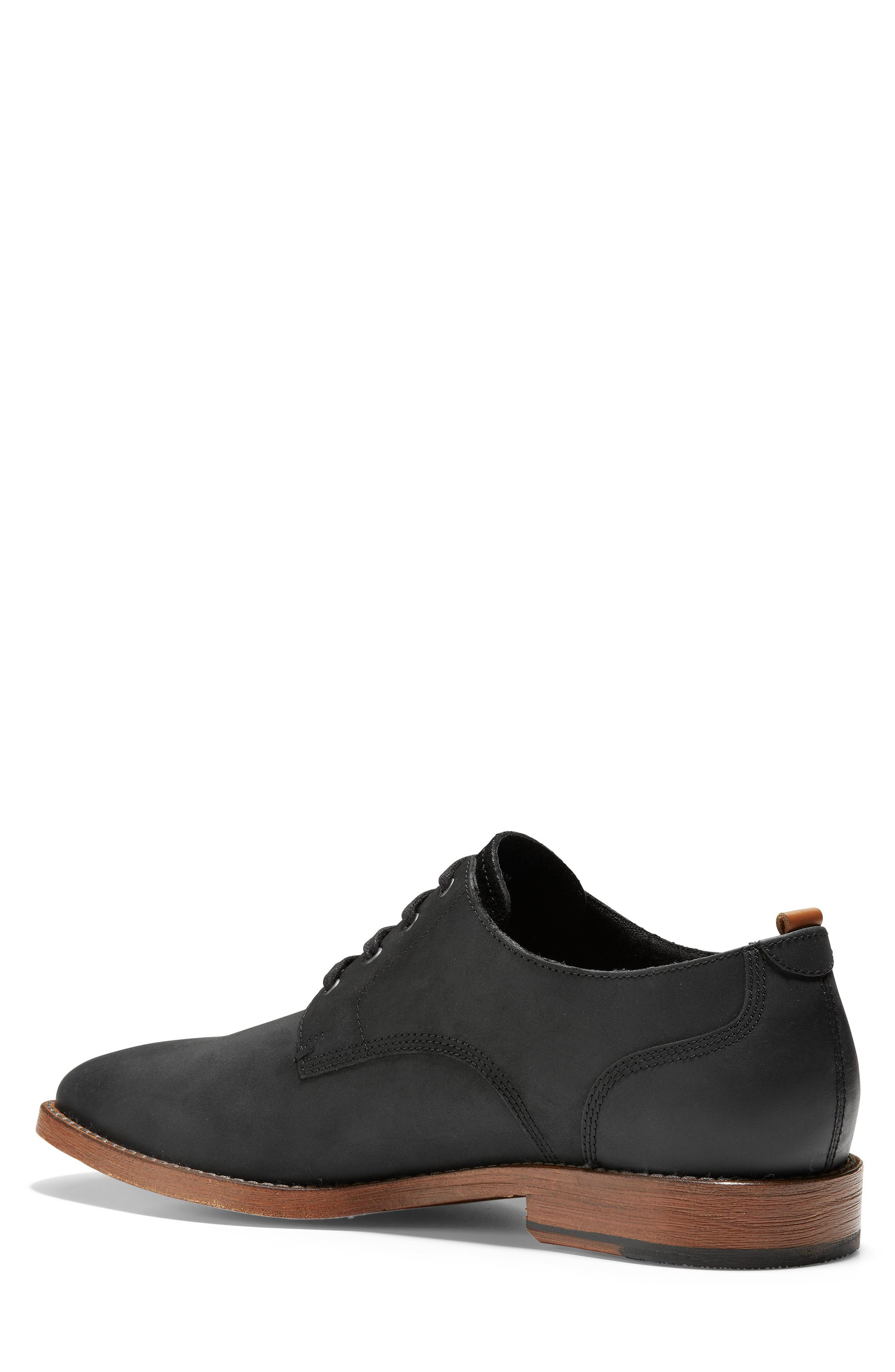 COLE HAAN, Feathercraft Grand Derby, Alternate thumbnail 2, color, BLACK LEATHER