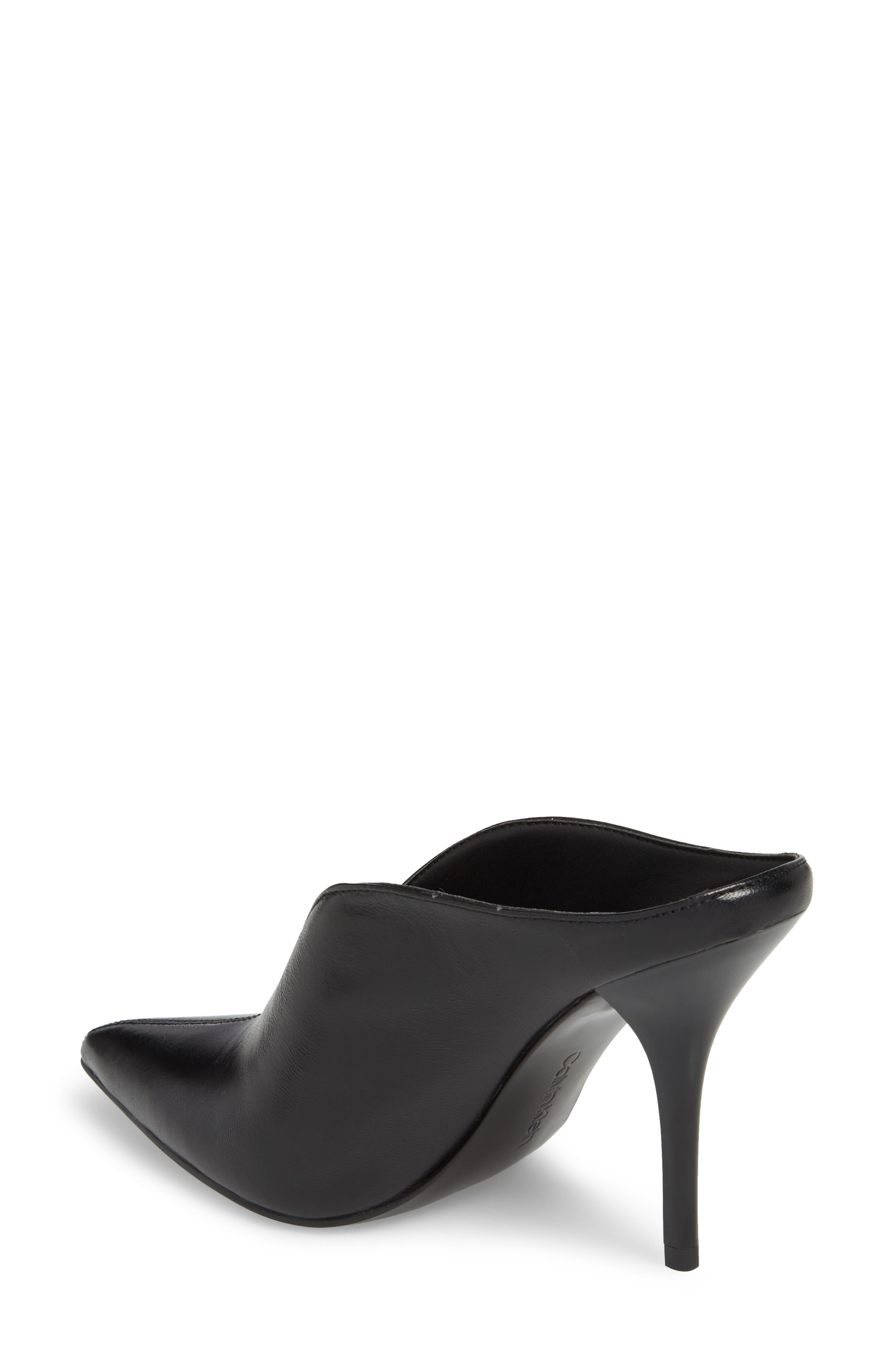 CALVIN KLEIN, Mallie Pointy Toe Mule, Alternate thumbnail 2, color, BLACK LEATHER