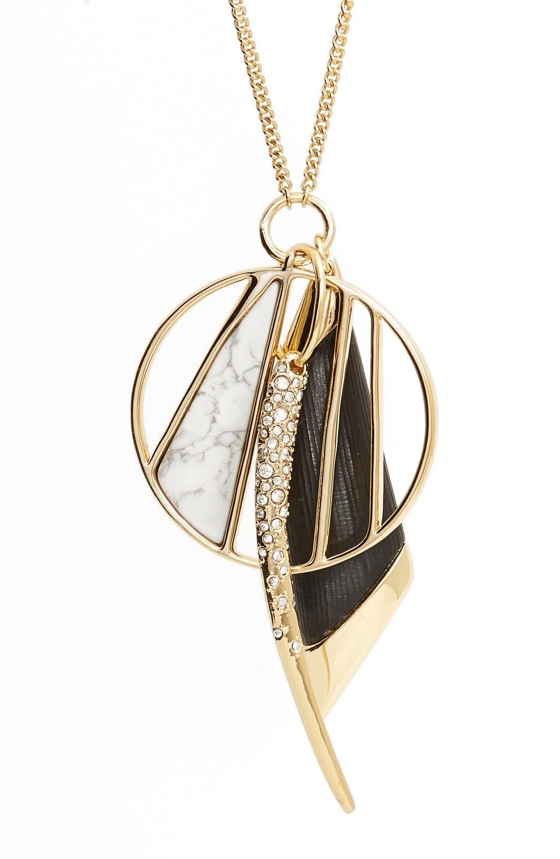 ALEXIS BITTAR, 'Lucite<sup>®</sup> Metal' Crystal Charm Pendant Necklace, Alternate thumbnail 2, color, 001