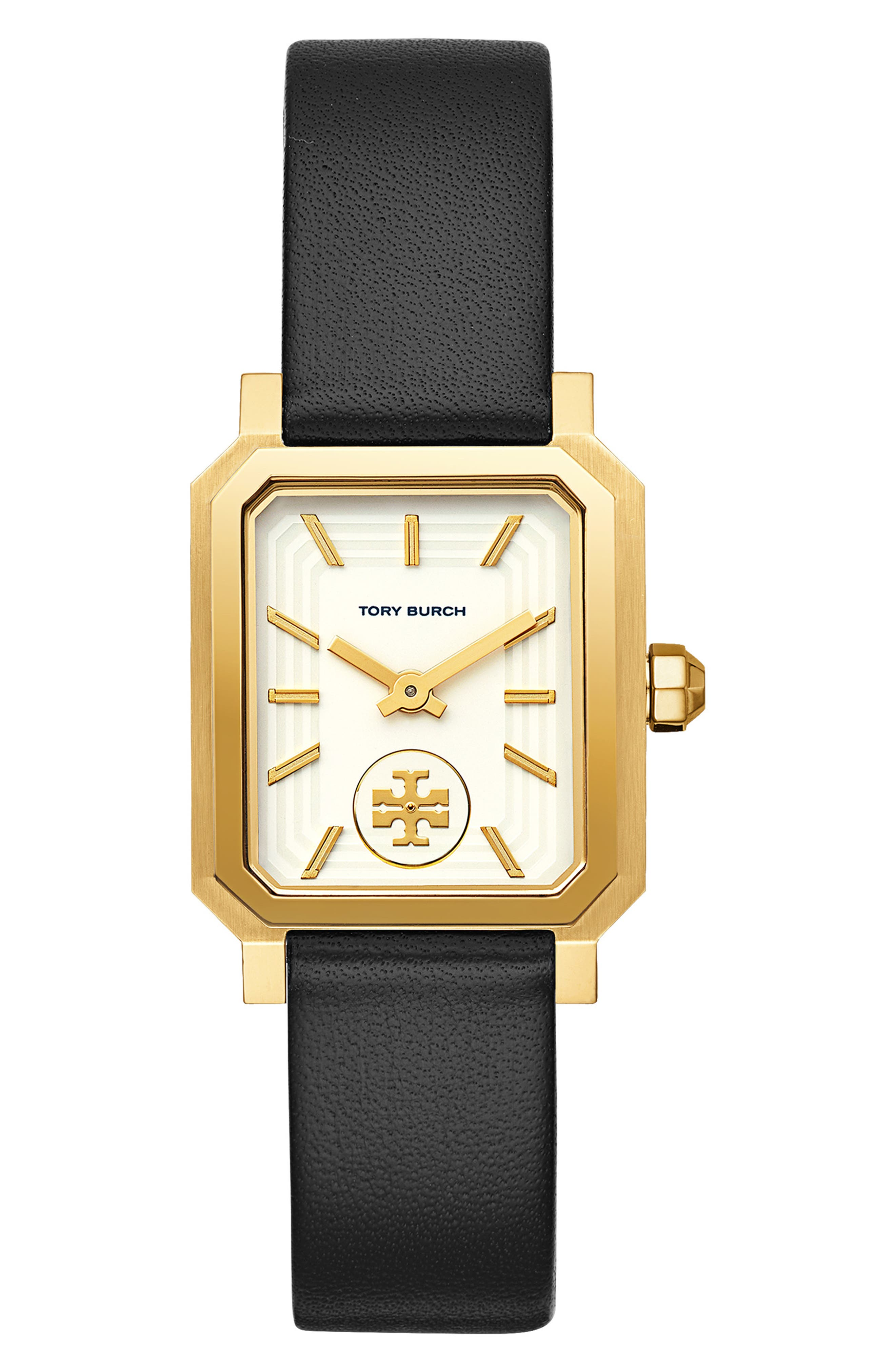 TORY BURCH, Robinson Leather Strap Watch, 27mm x 29mm, Main thumbnail 1, color, BLACK/ WHITE/ GOLD