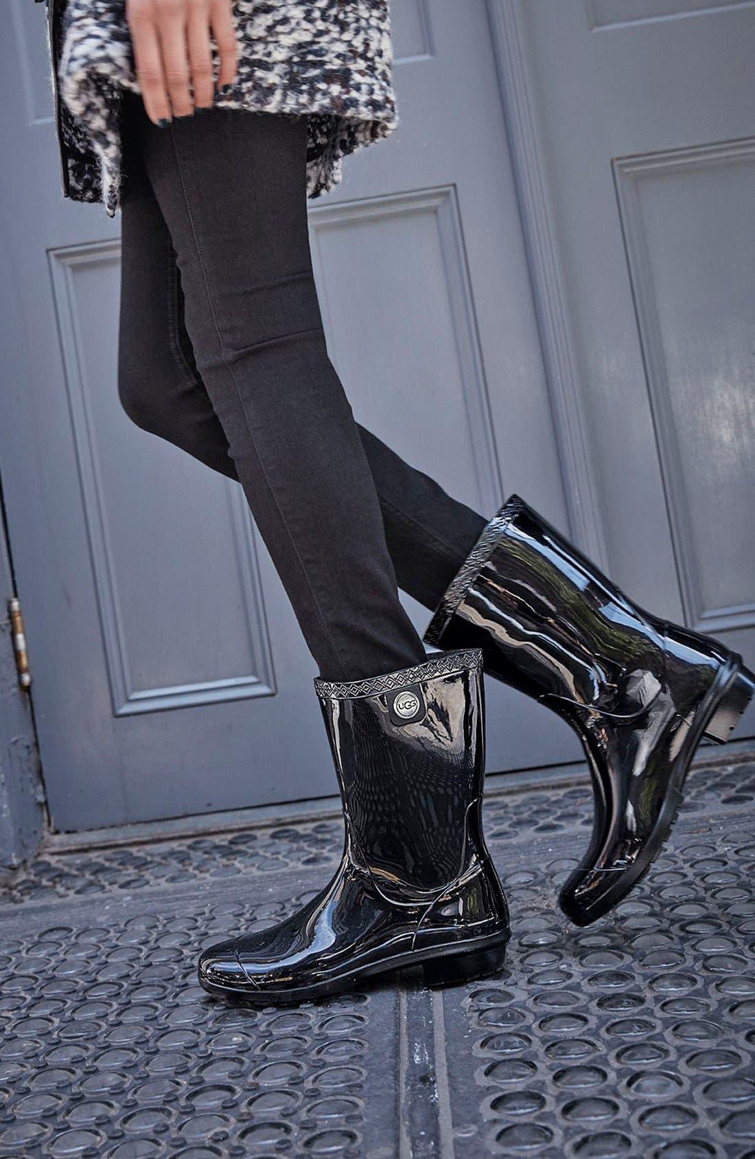 UGG<SUP>®</SUP>, Sienna Rain Boot, Alternate thumbnail 6, color, BLACK