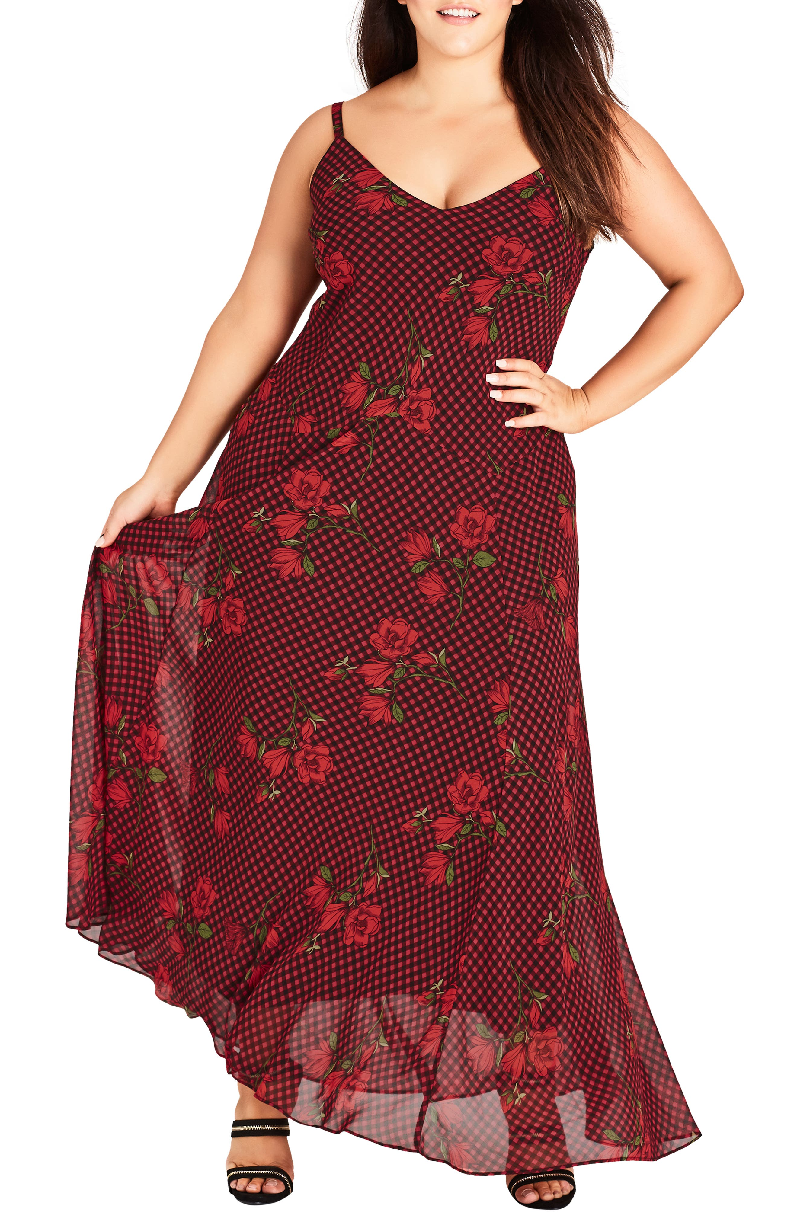 CITY CHIC Gingham Poppy Maxi Dress, Main, color, 605