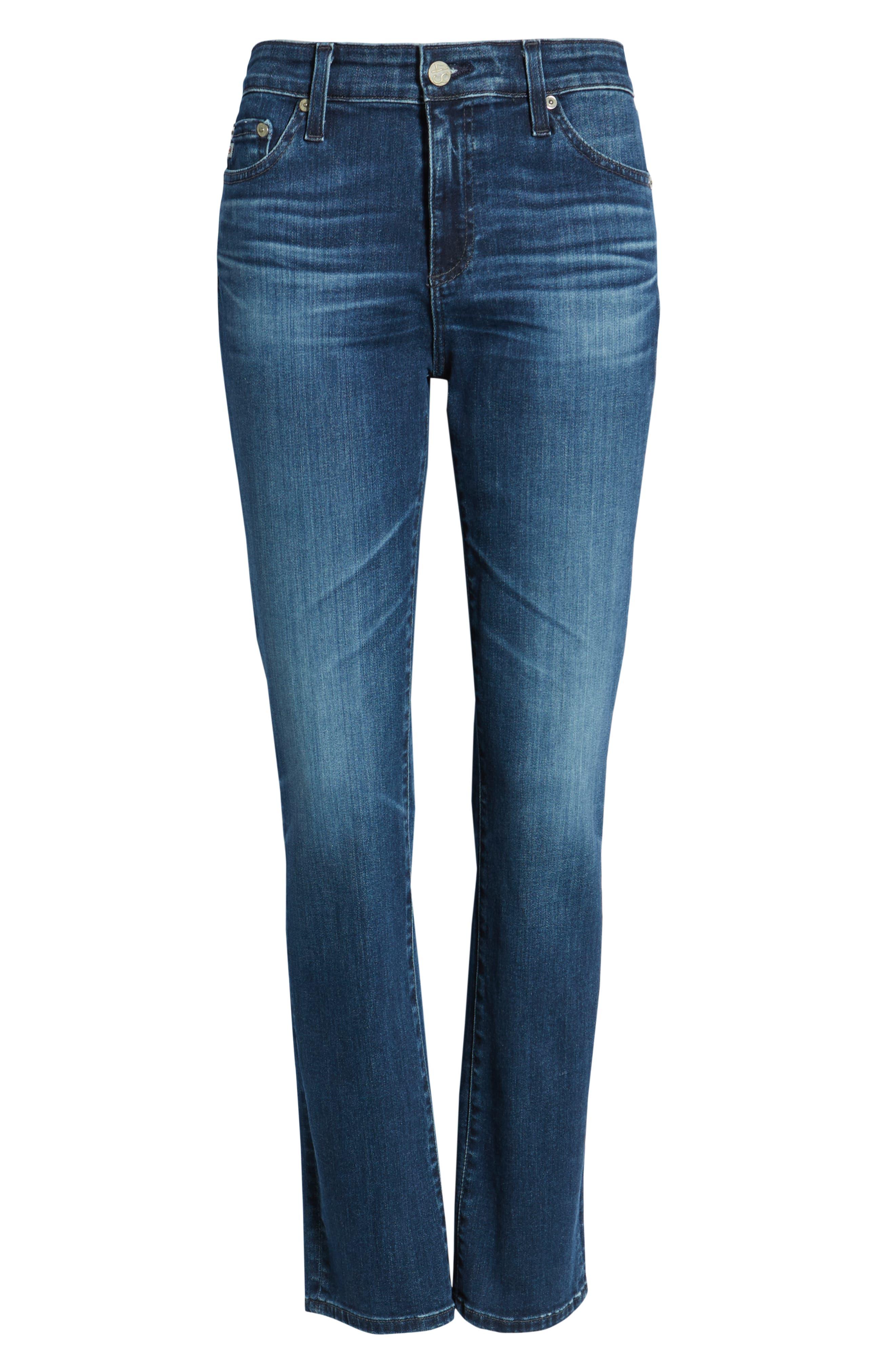 AG, Mari High Waist Slim Straight Leg Jeans, Alternate thumbnail 7, color, 05 YEAR BLUE ESSENCE